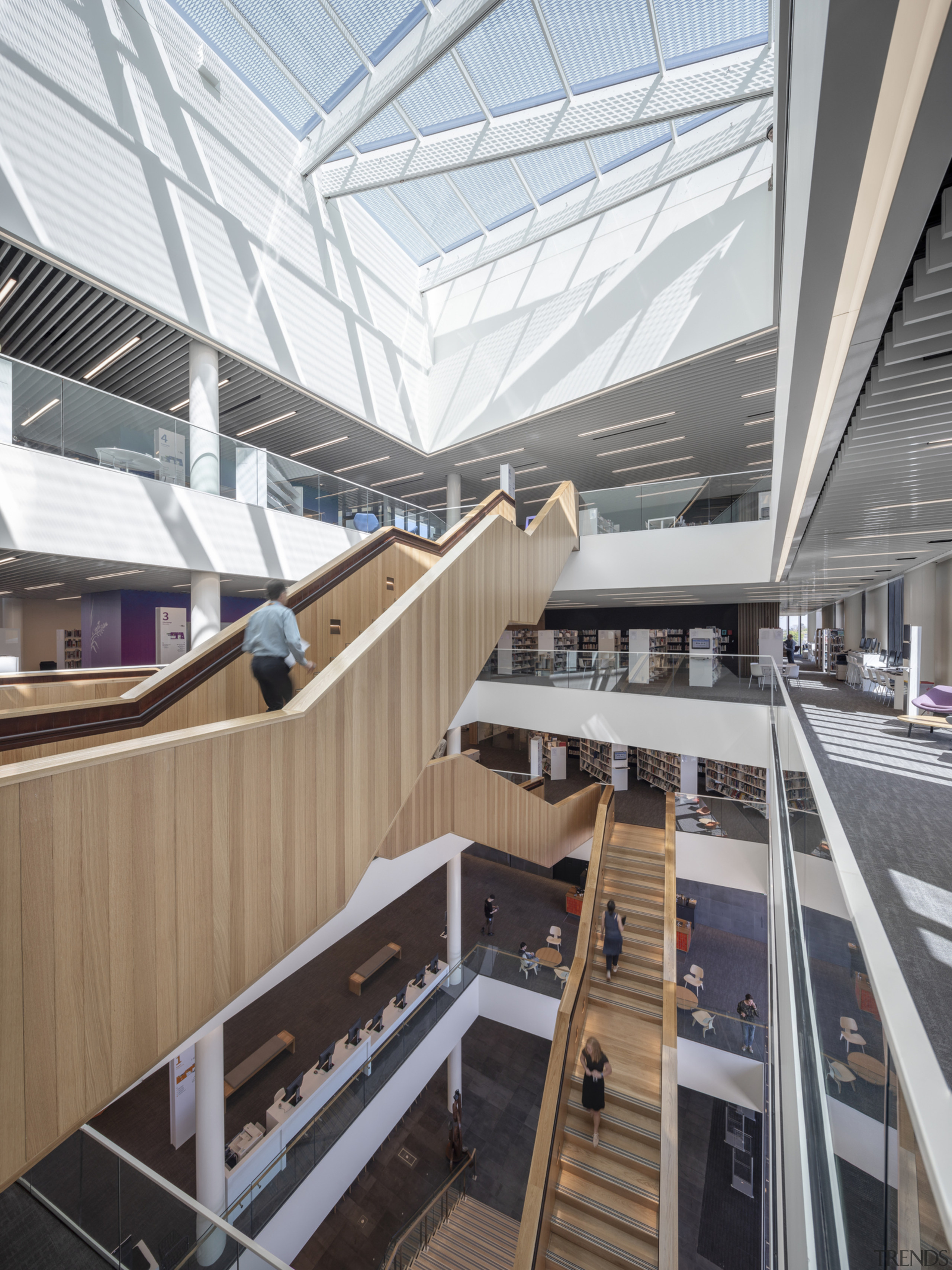 Christchurch Central Library – five levels at a apartment, architecture, building, commercial building, corporate headquarters, daylighting, metropolitan area, mixed use, gray, white
