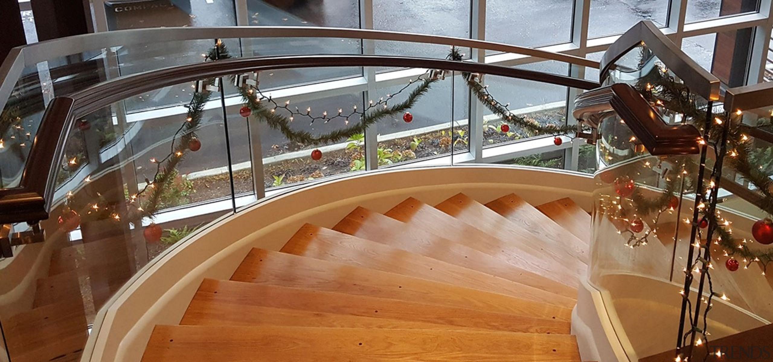 Aegis Living 02 - architecture   deck   architecture, deck, floor, handrail, hardwood, spiral, stairs, wood, wood flooring, brown, gray