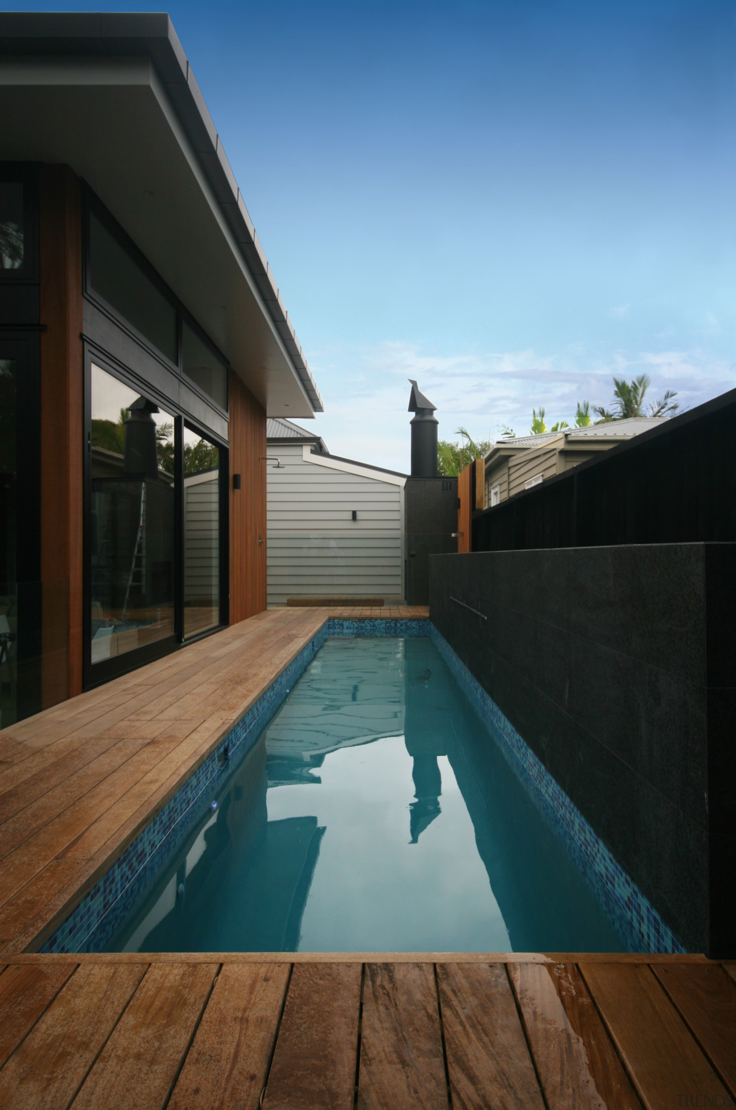 If you are time poor, Executive Pools offers architecture, daylighting, estate, home, house, property, real estate, reflection, sky, swimming pool, water, wood, black