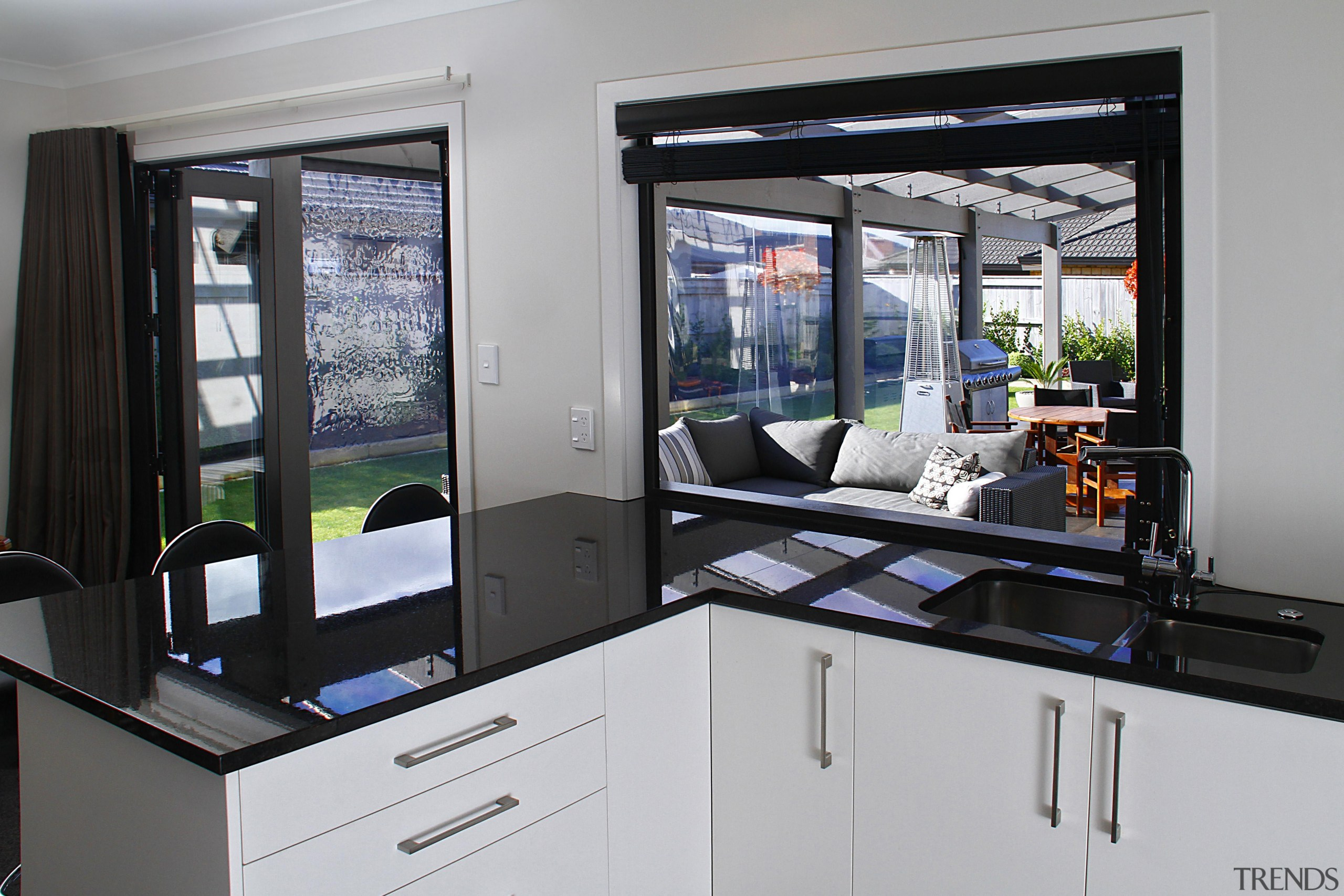 French doors to the outdoor area - home home appliance, kitchen, window, gray, black