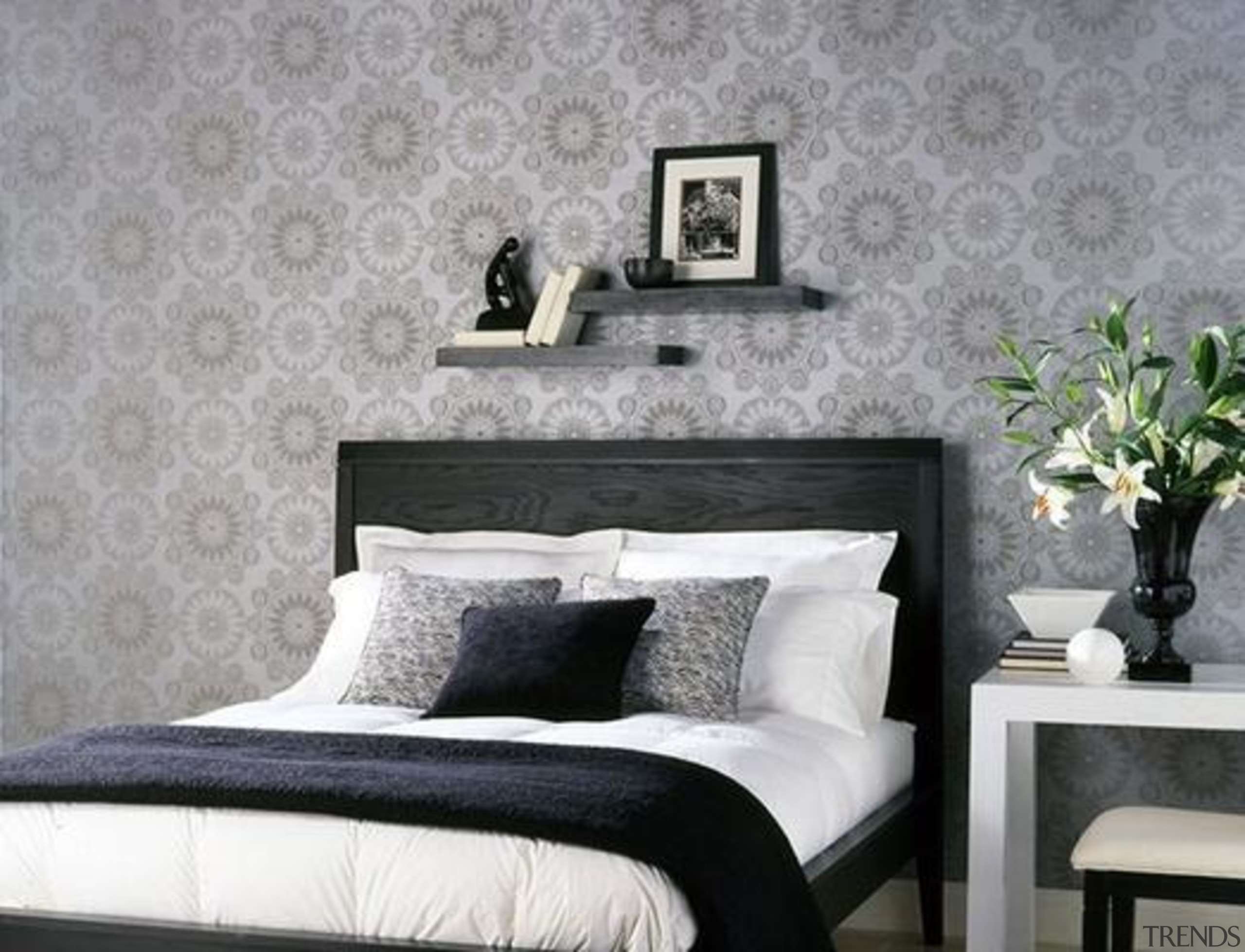 Classical Damask Style Keeping On Going - bed bed, bed frame, bedroom, couch, furniture, home, interior design, living room, room, wall, wallpaper, gray