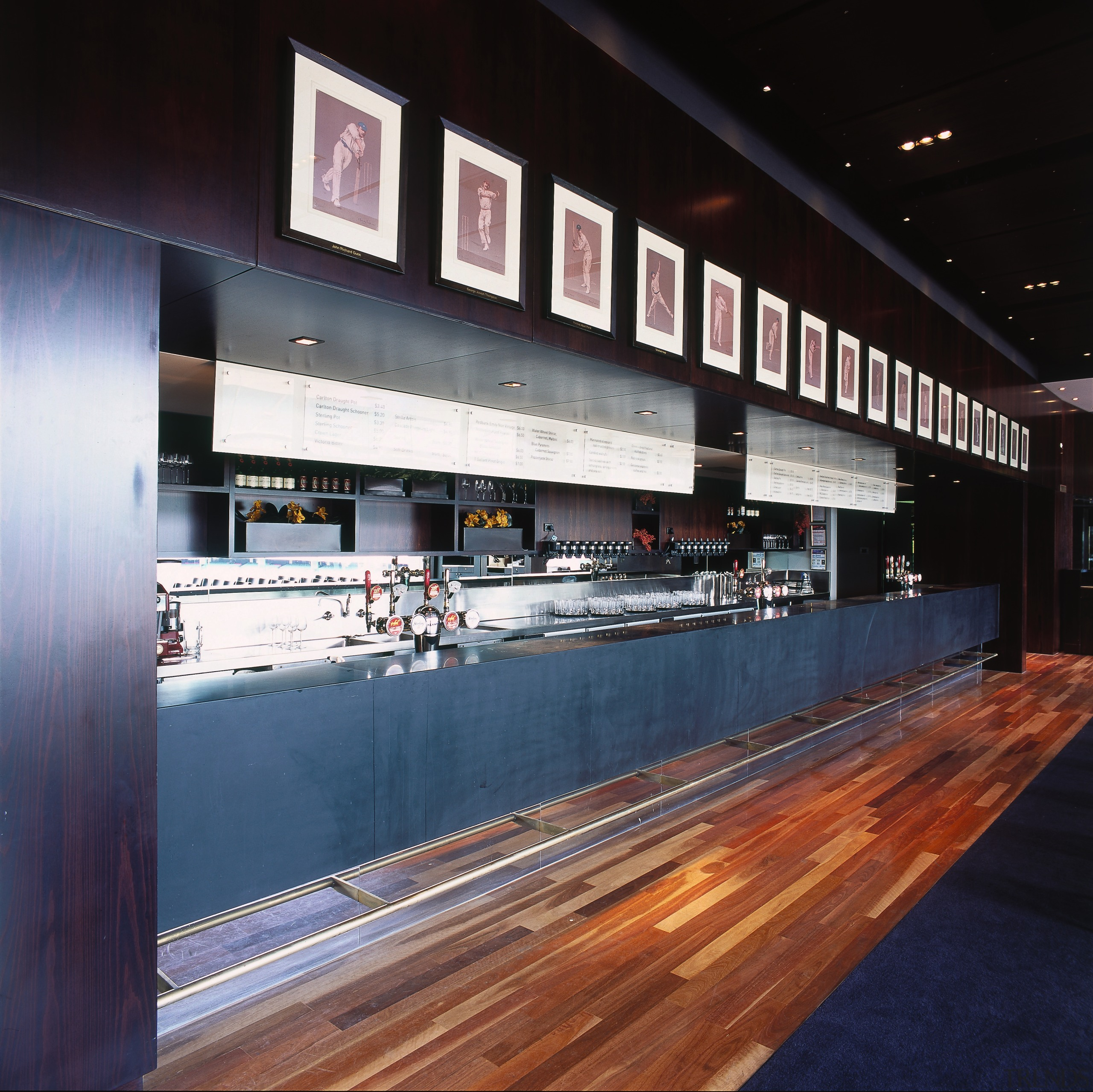 Hospitality area with granite and blackwood timber veneers black