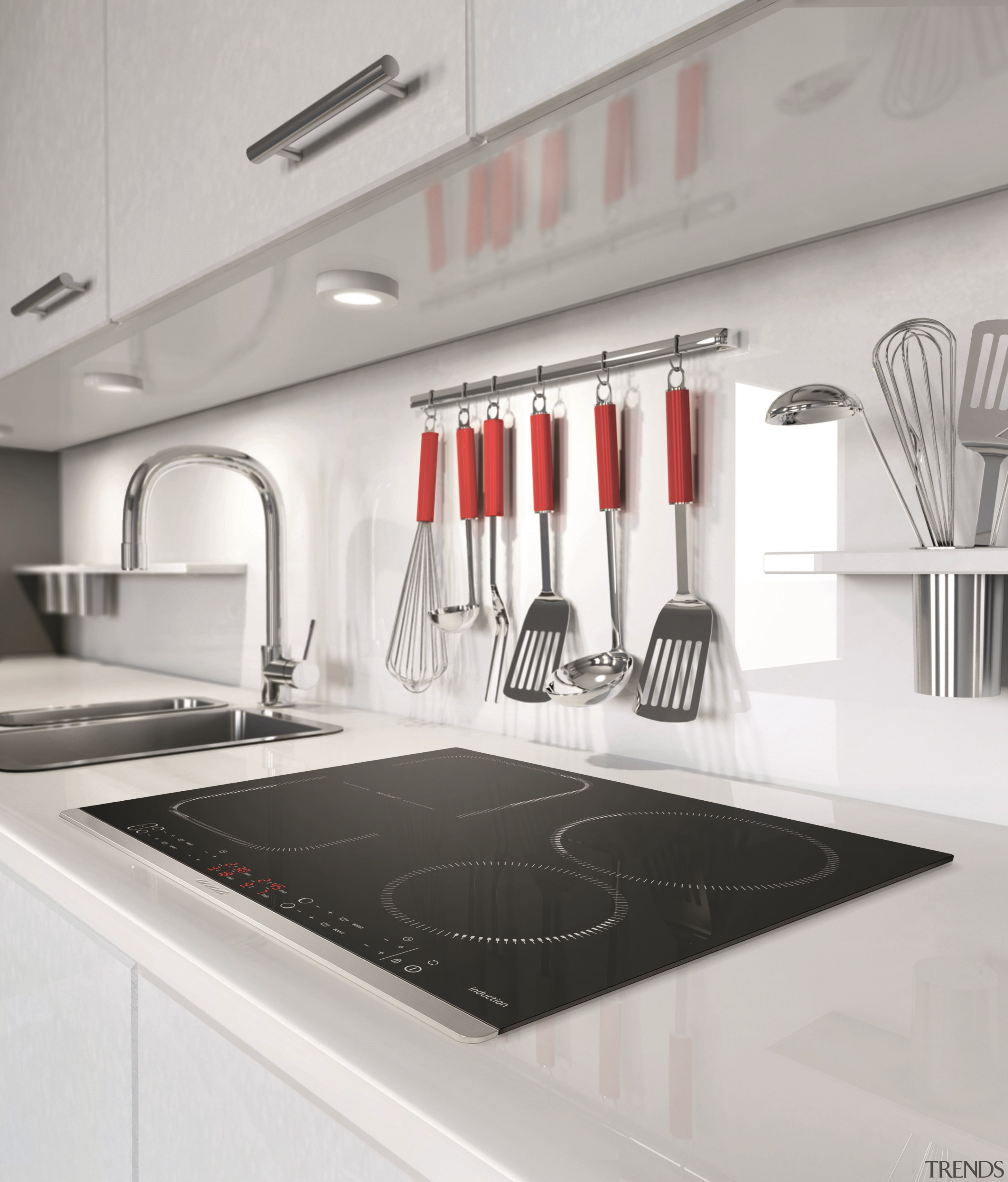 Flat-out advantage – the toughened ceramic glass Induction countertop, floor, interior design, kitchen, gray