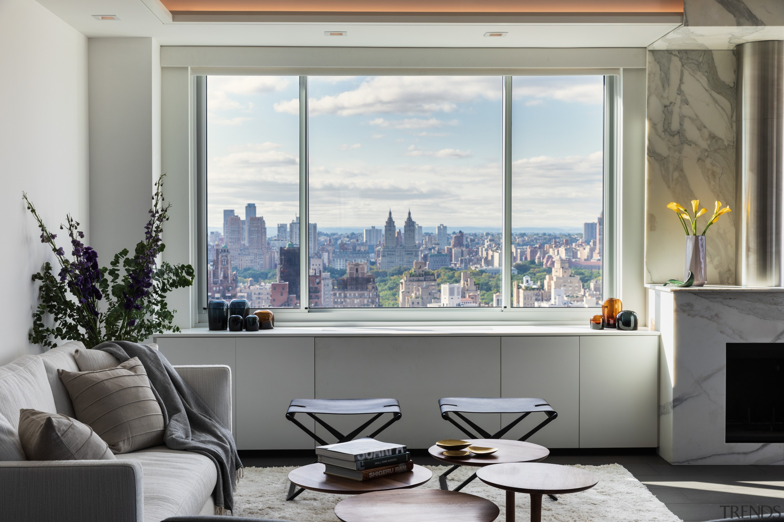 ​​​​​​​This renovated Manhattan apartment maximises views over Central Penthouse, home, architecture, coffee table, couch, furniture, interior design, living room, Andrew Wilkinson, Asian influence