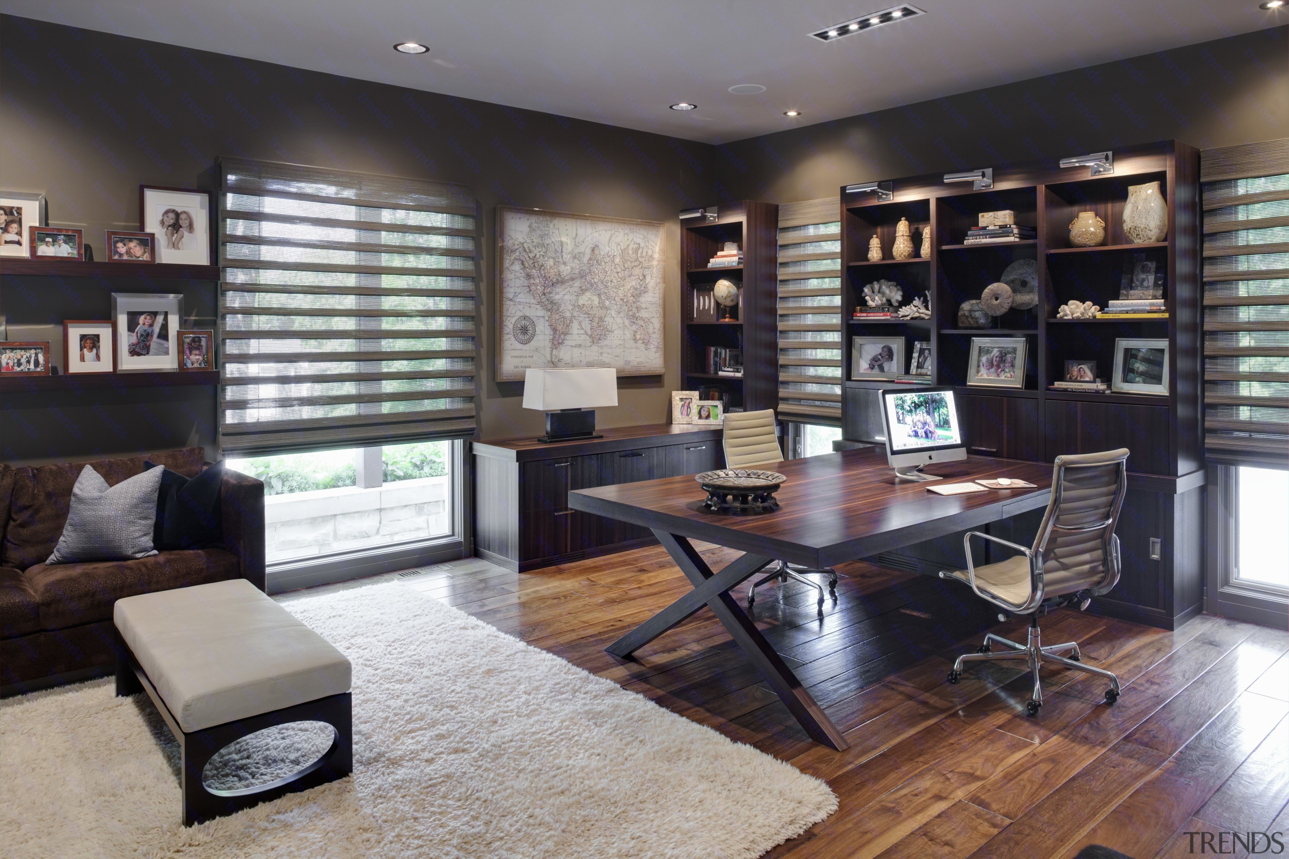 Greys and whites offset wooden floors and ceilings. furniture, home, interior design, living room, property, real estate, room, table, gray, black