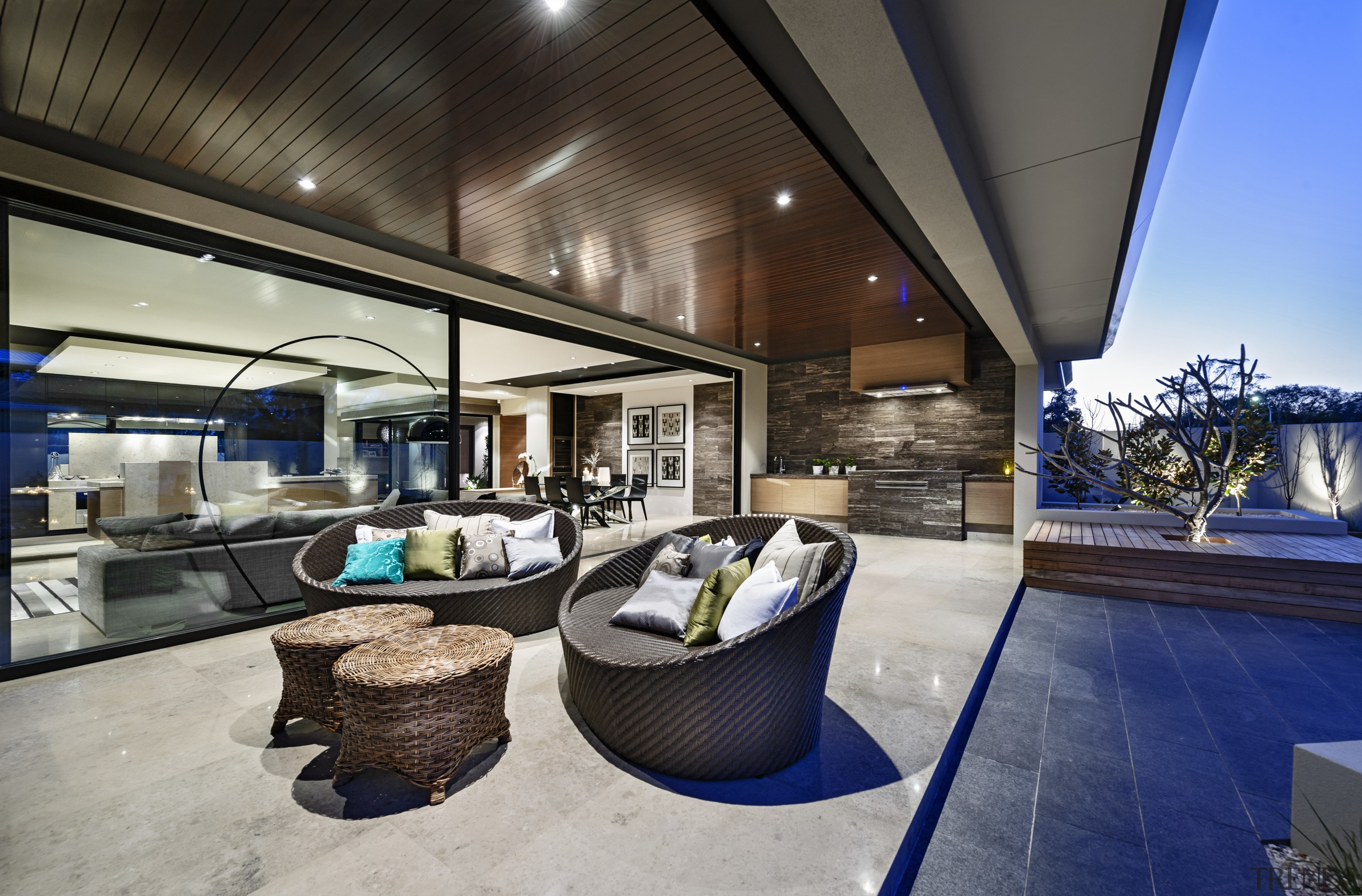 A travertine barbecue and benchtops almost disappear into estate, home, house, interior design, real estate, gray, black