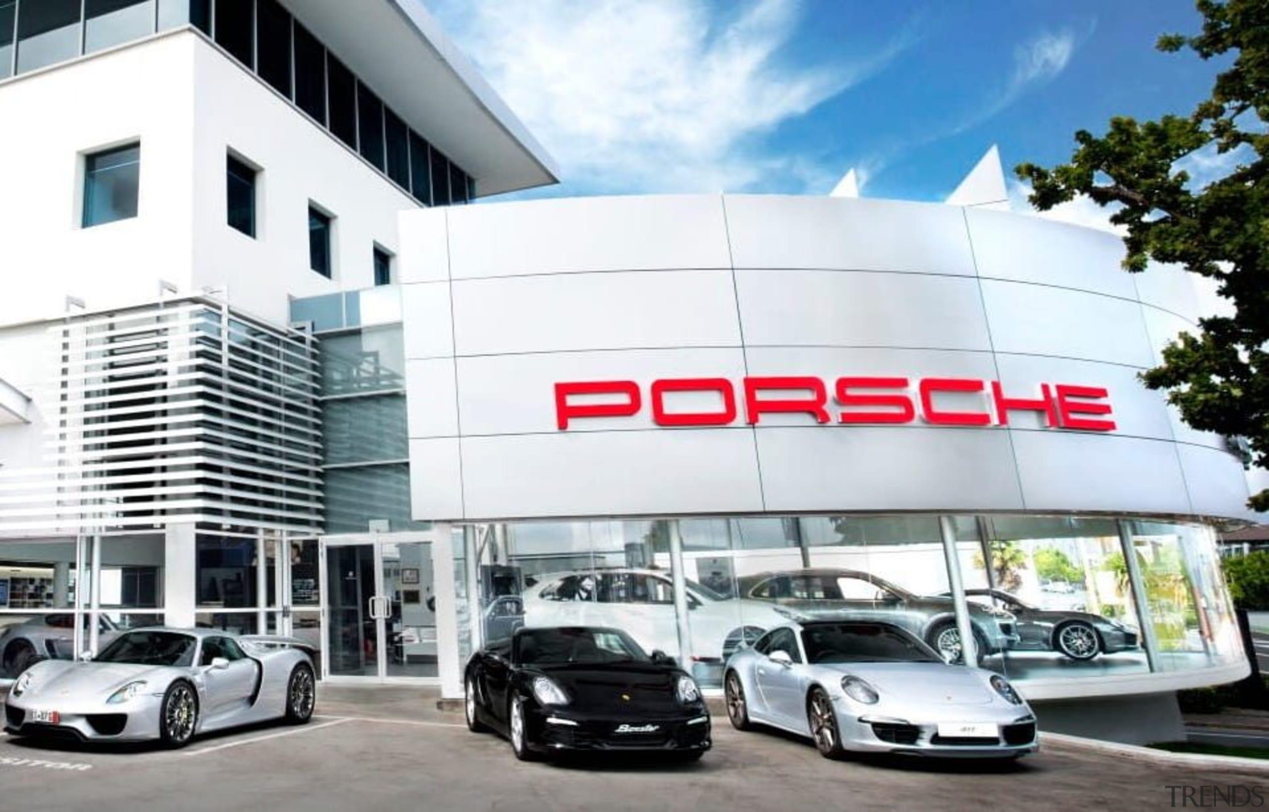 Dealership - architecture | automotive design | building architecture, automotive design, building, car, car dealership, land vehicle, luxury vehicle, porsche, sports car, supercar, vehicle, white