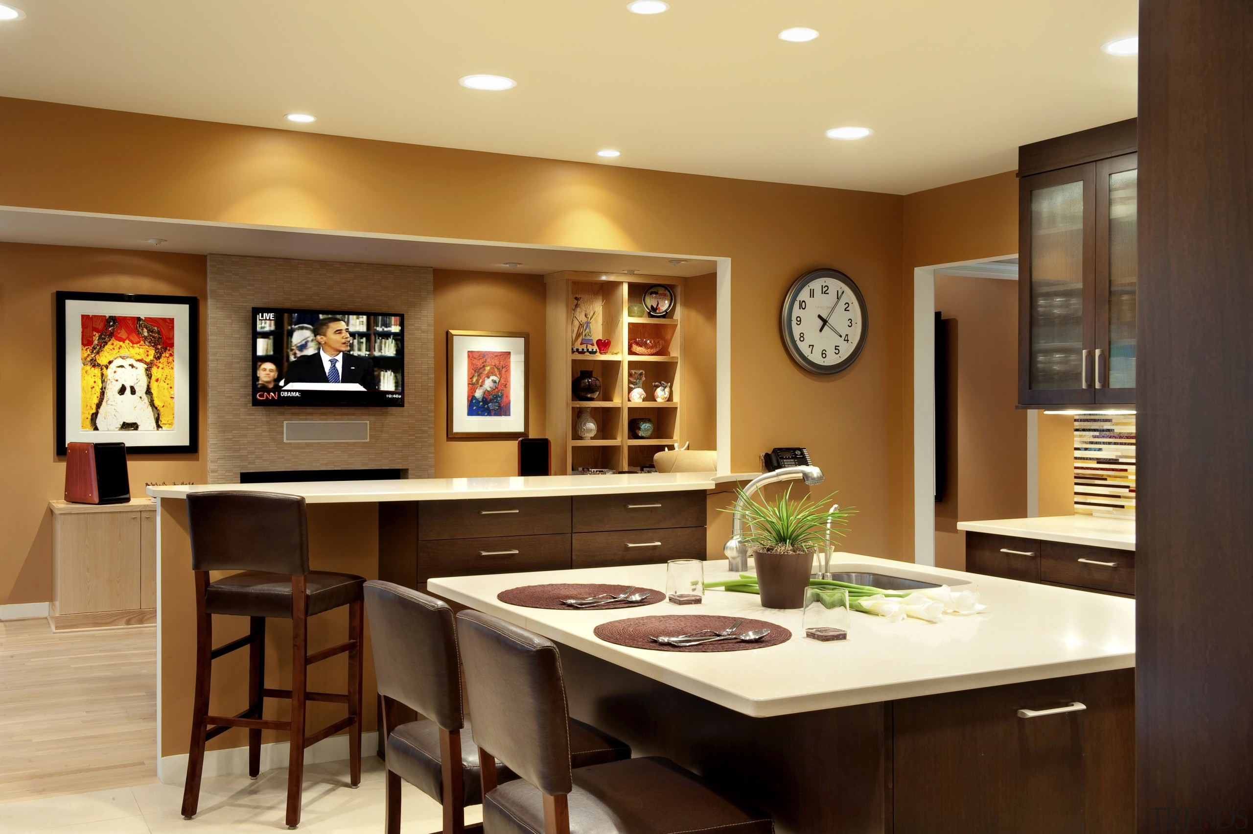 Prior to the remodel of this kitchen, a countertop, dining room, interior design, kitchen, room, table, brown, orange