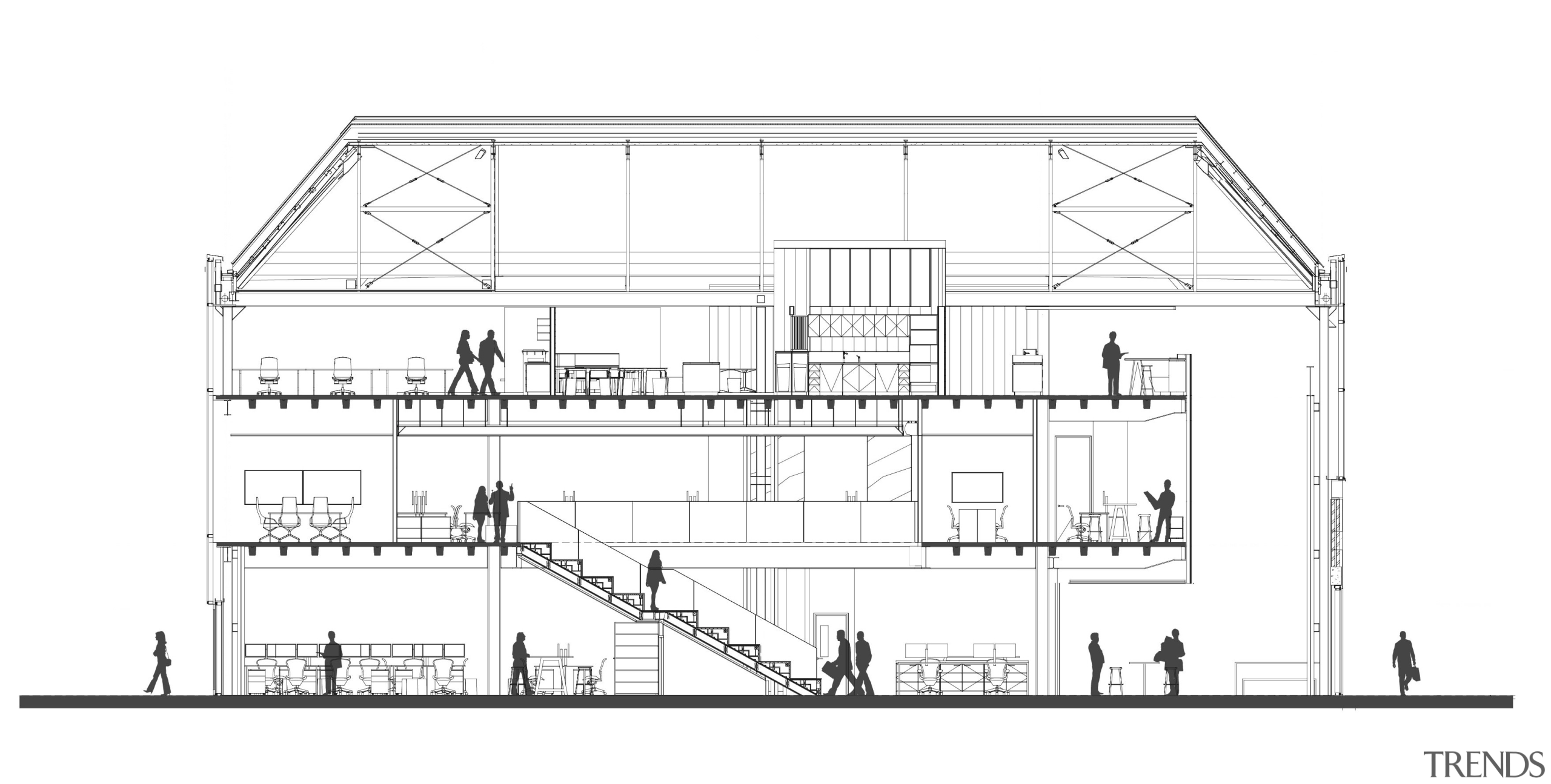 This cross-section of the Mason Bros building shows architecture, area, artwork, black and white, design, diagram, drawing, elevation, facade, floor plan, home, house, line, line art, plan, product design, residential area, structure, technical drawing, white