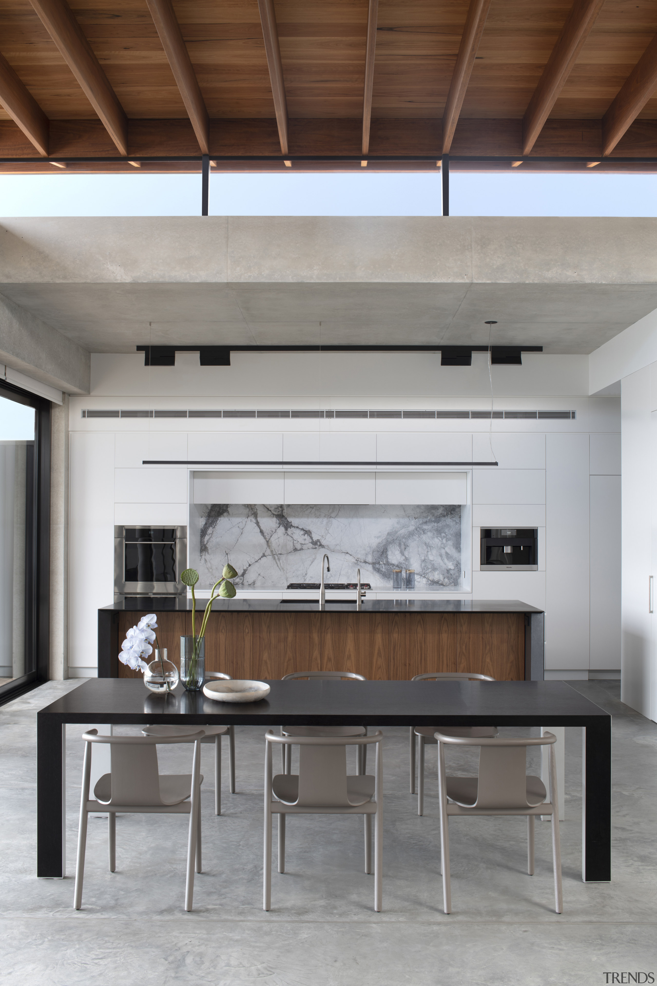 A serene kitchen in a serene home, this architecture, building, ceiling, coffee table, daylighting, design, dining room, floor, flooring, furniture, hardwood, home, house, interior design, living room, loft, property, room, table, wall, wood, wood flooring, gray