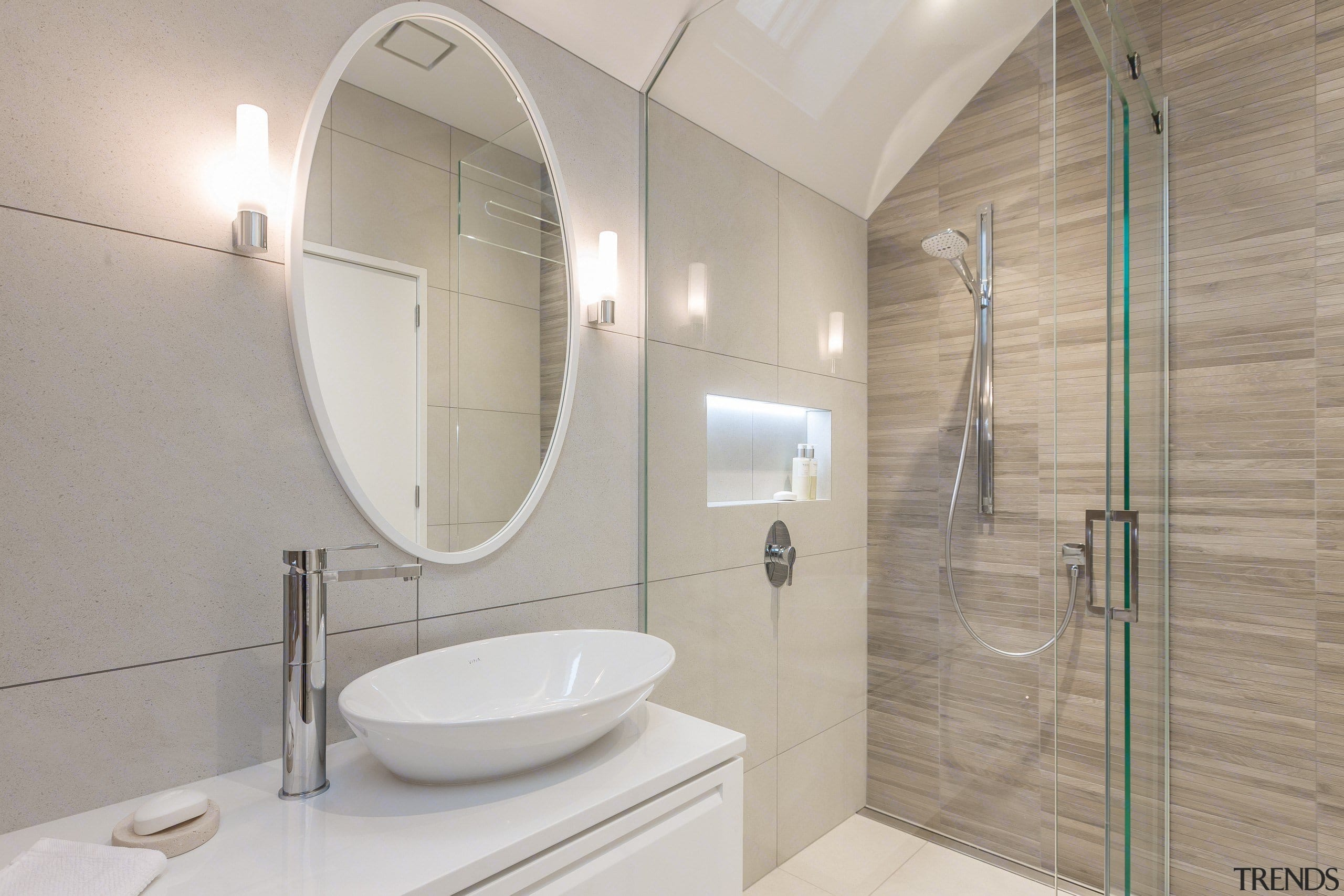 See the bathroom architecture, bathroom, home, interior design, plumbing fixture, property, real estate, room, tap, tile, gray