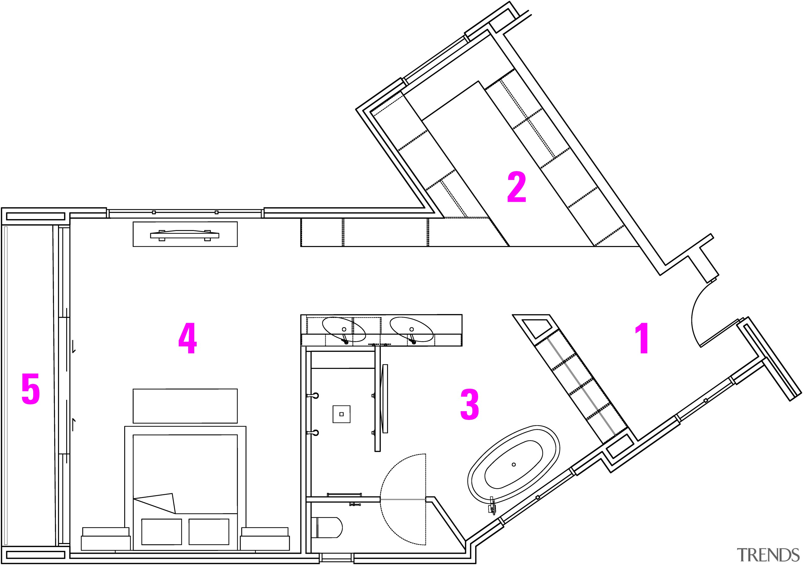 ​​​​​​​Plan of master suite designed by Sonja McAuliffe:1 white