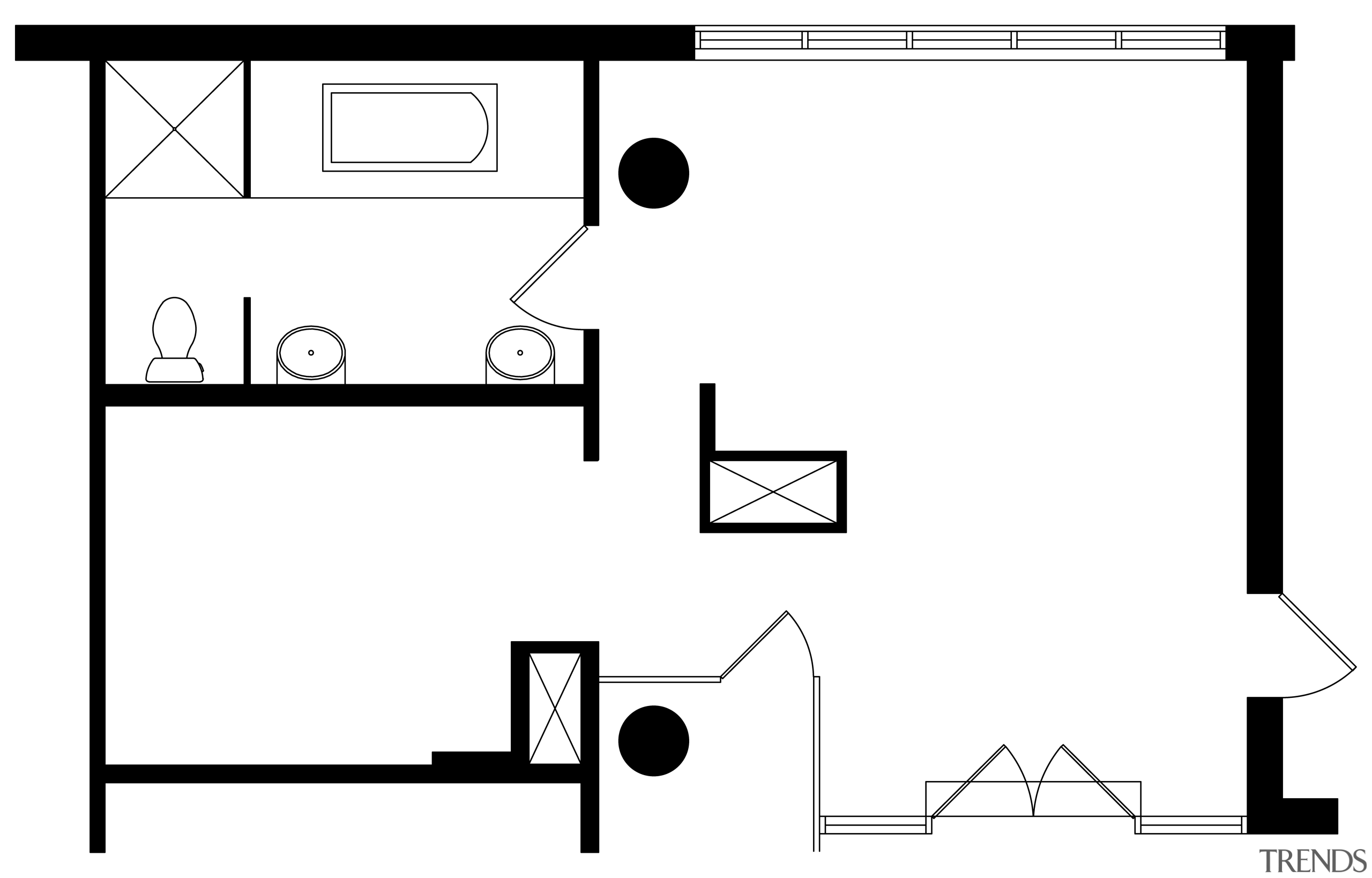 This master suite plan shows the poor distribution angle, area, black, black and white, design, diagram, drawing, font, furniture, line, pattern, product, product design, square, technology, text, white