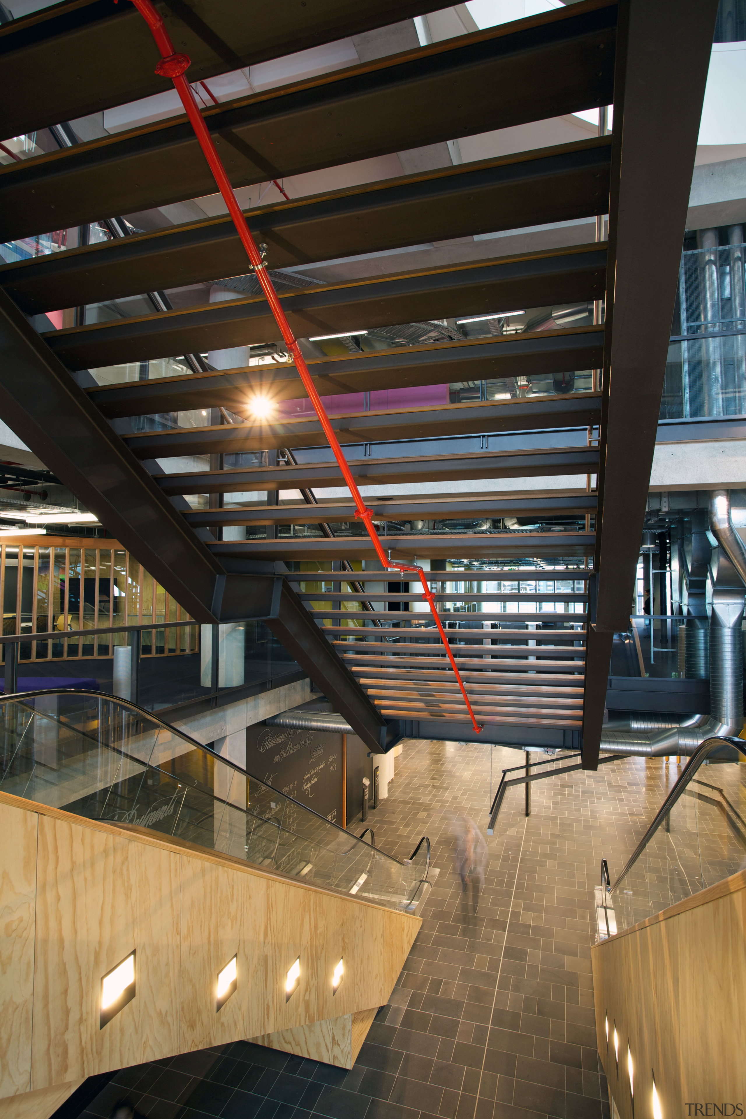 AFS Total Fire Protection supplied and installed the architecture, building, ceiling, daylighting, interior design, lobby, structure, black