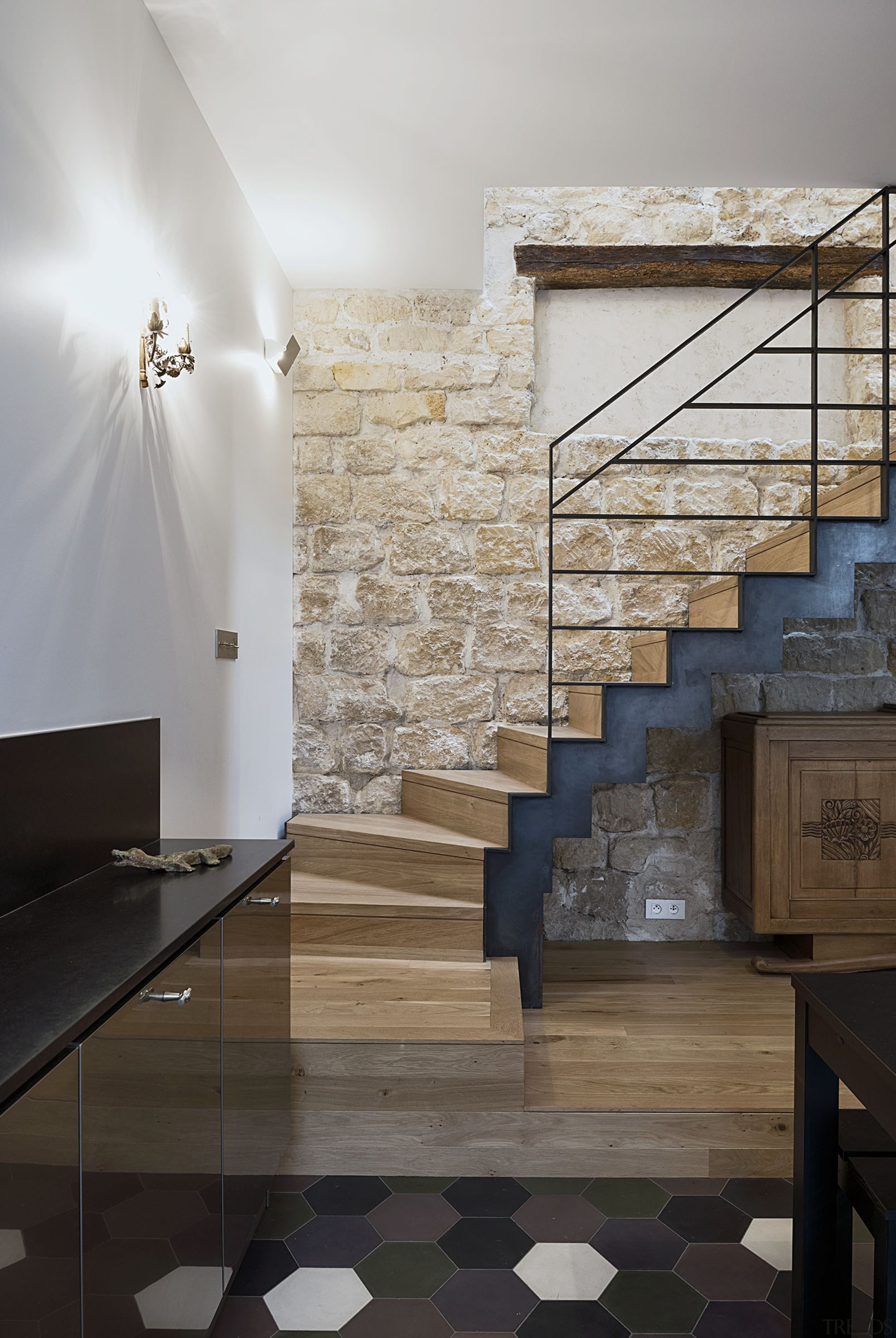 Staircase leading to the rooms in raw metal architecture, building, ceiling, floor, flooring, furniture, glass, handrail, hardwood, home, house, interior design, lobby, material property, property, room, stairs, tile, wall, wood, wood flooring, gray, black