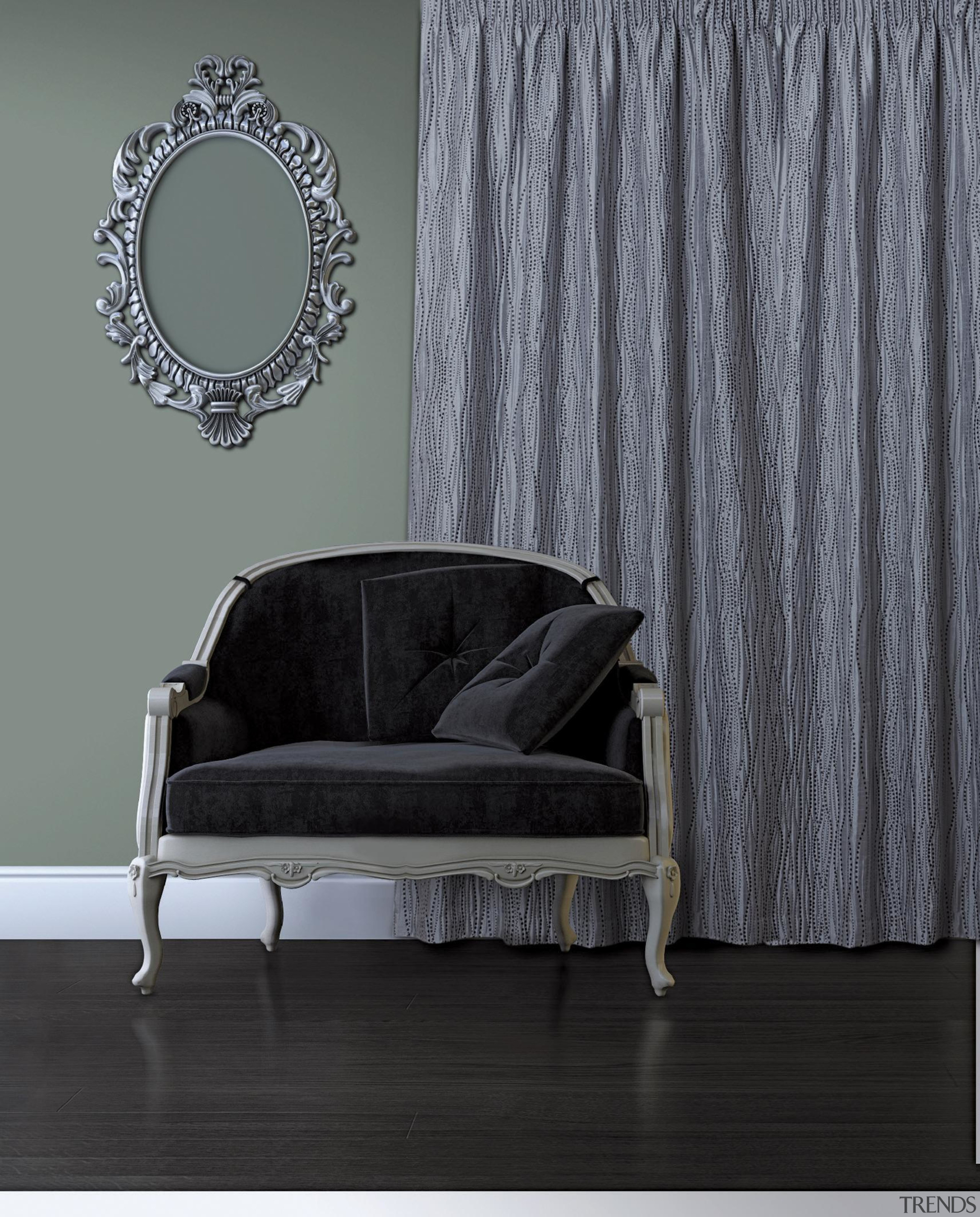 Frequency Room Hydra - chair | couch | chair, couch, curtain, floor, furniture, interior design, table, textile, wall, window, window covering, window treatment, gray, black
