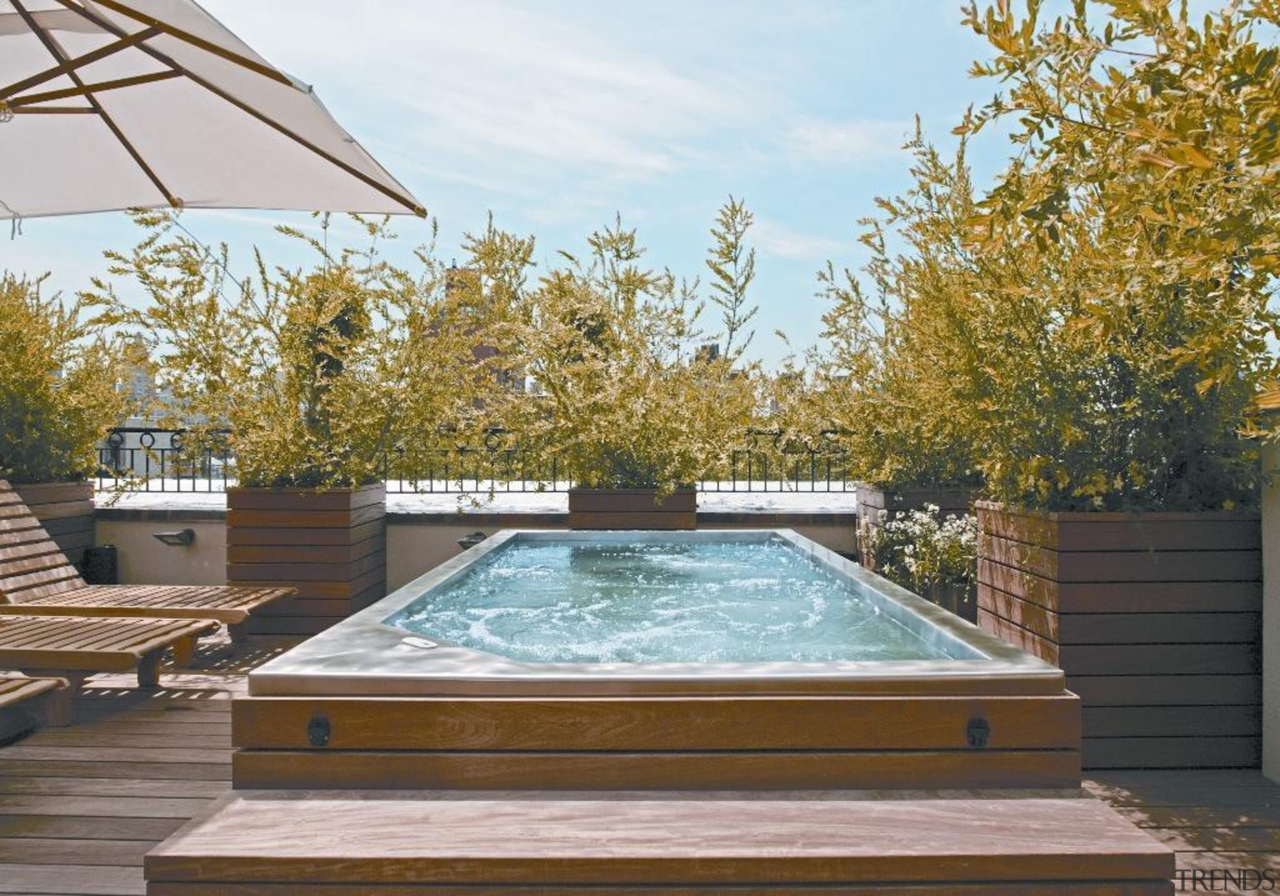 Rooftop Stainless Steel Hot Tub with Built in daylighting, outdoor structure, property, real estate, swimming pool, brown, white