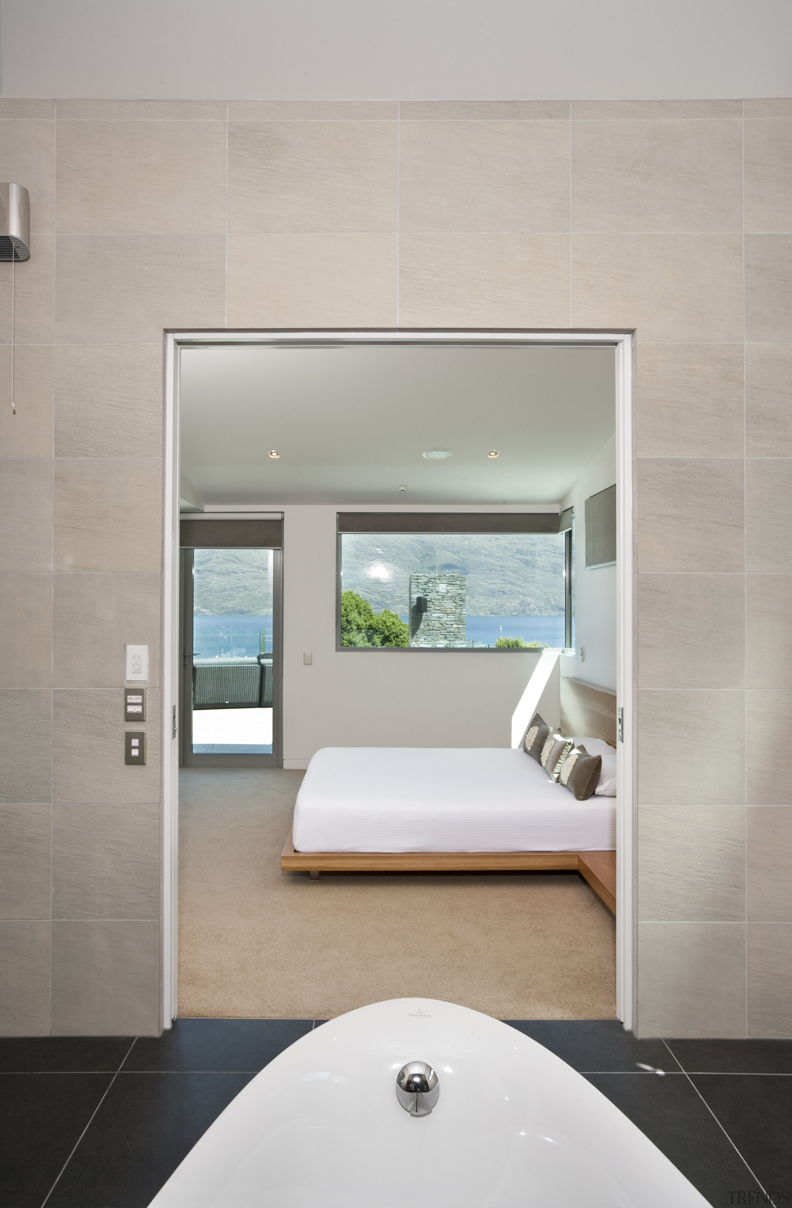 Interior view of this contemporary bathroom - Interior architecture, bathroom, floor, house, interior design, room, gray