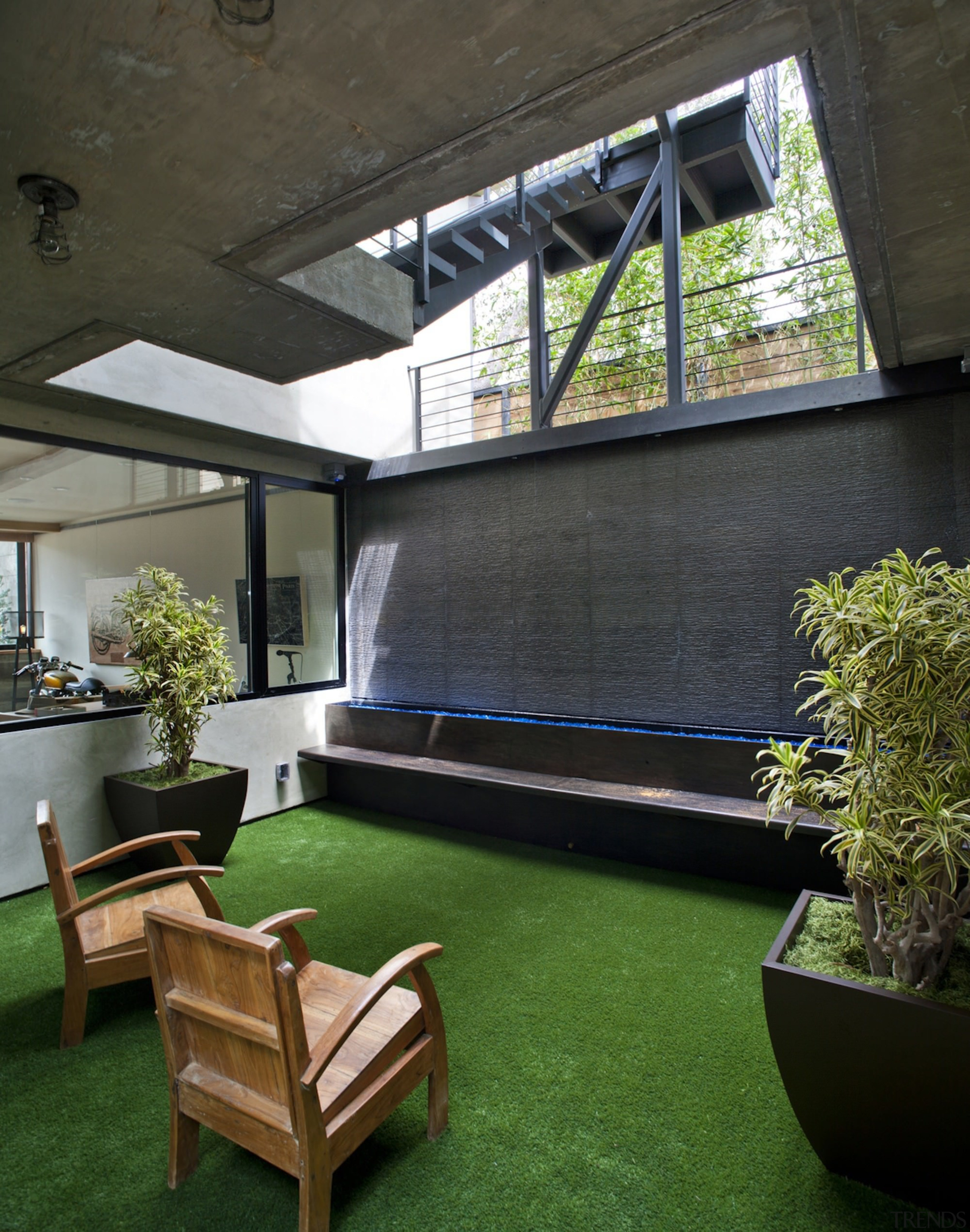 This outdoor room looks like the perfect place architecture, backyard, courtyard, daylighting, grass, house, interior design, plant, property, real estate, roof, window, black