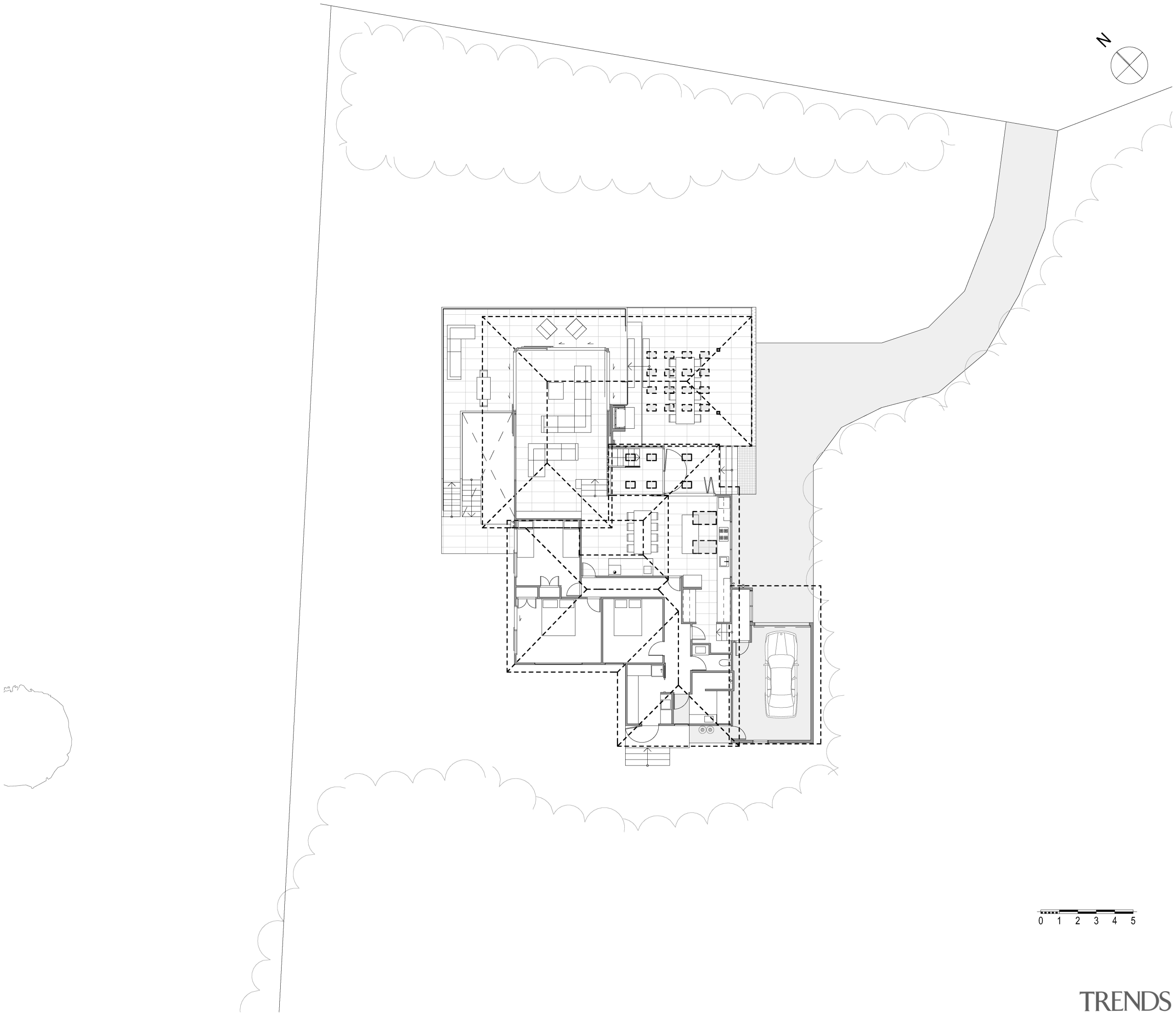 The front section of this renovated home  angle, architecture, area, black and white, design, diagram, drawing, floor plan, font, line, map, plan, product design, structure, text, white