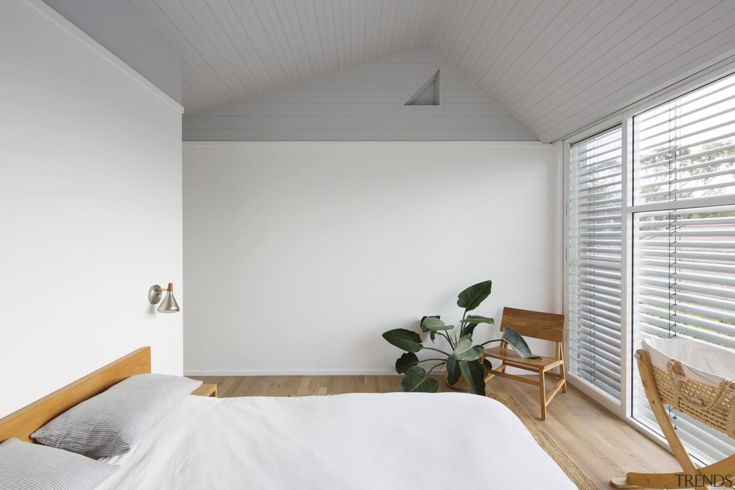 You'd never guess this home was a renovation architecture, bed frame, bedroom, ceiling, daylighting, floor, home, house, interior design, real estate, room, window, wood, gray, white
