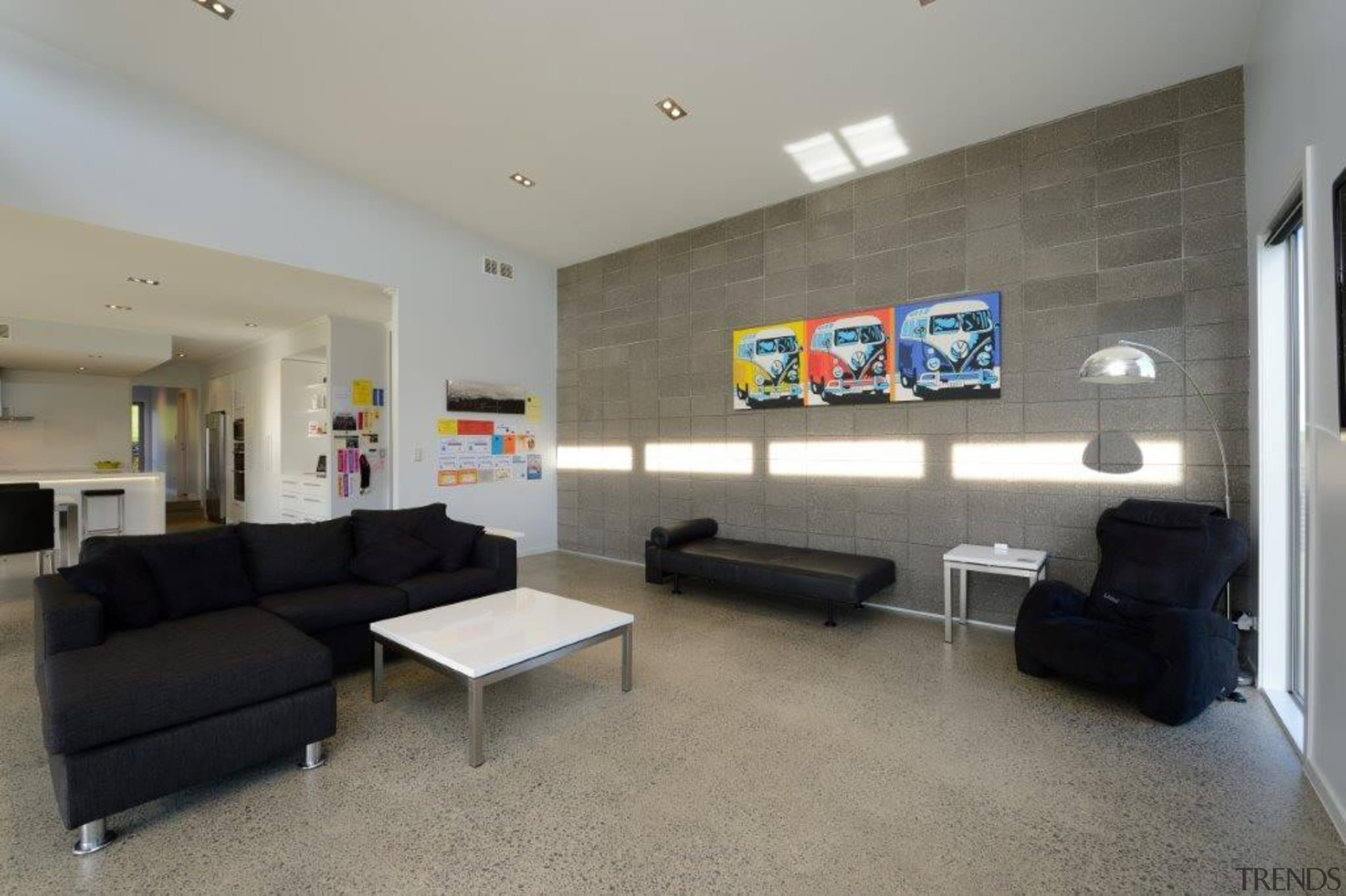 Modern Interior with block wall and polished concrete ceiling, floor, flooring, interior design, living room, property, real estate, room, gray