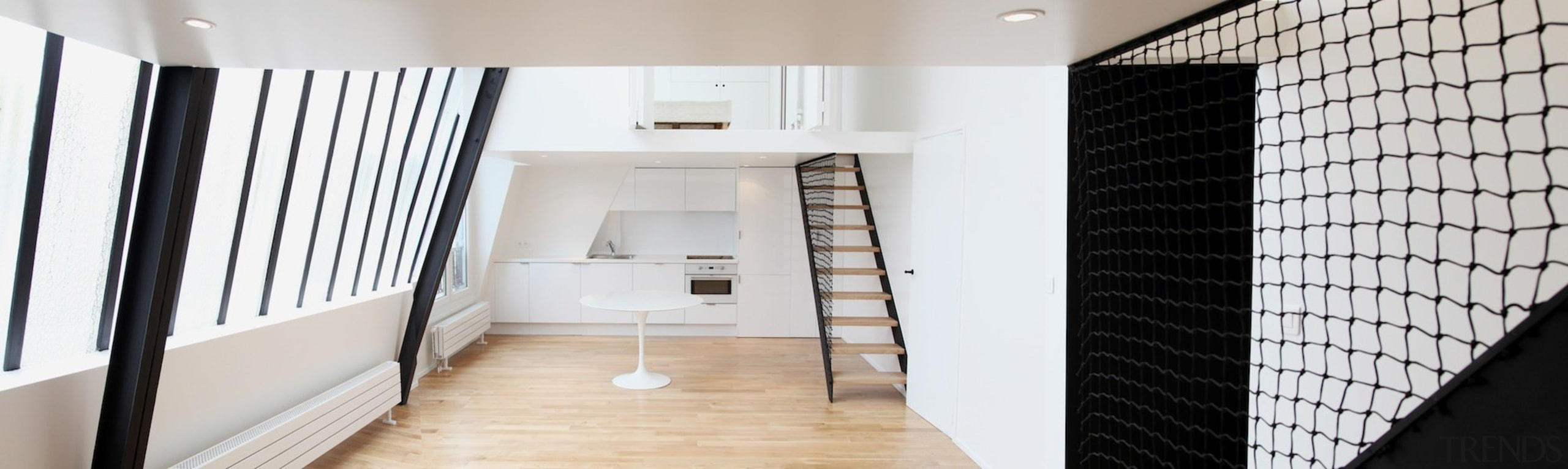 Architect: jbmn architectesPhotographer: Hermann Wendler architecture, daylighting, floor, flooring, home, house, interior design, loft, room, gray, white