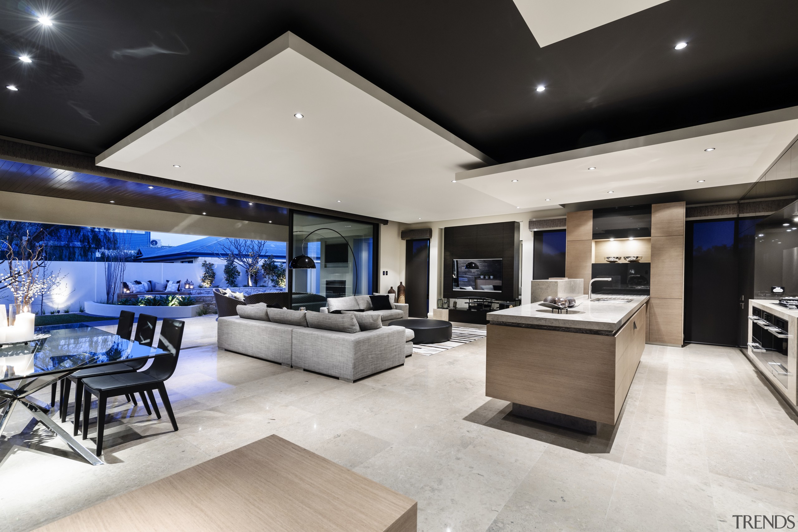 In this new home, the kitchen island and ceiling, interior design, living room, penthouse apartment, real estate, gray, black