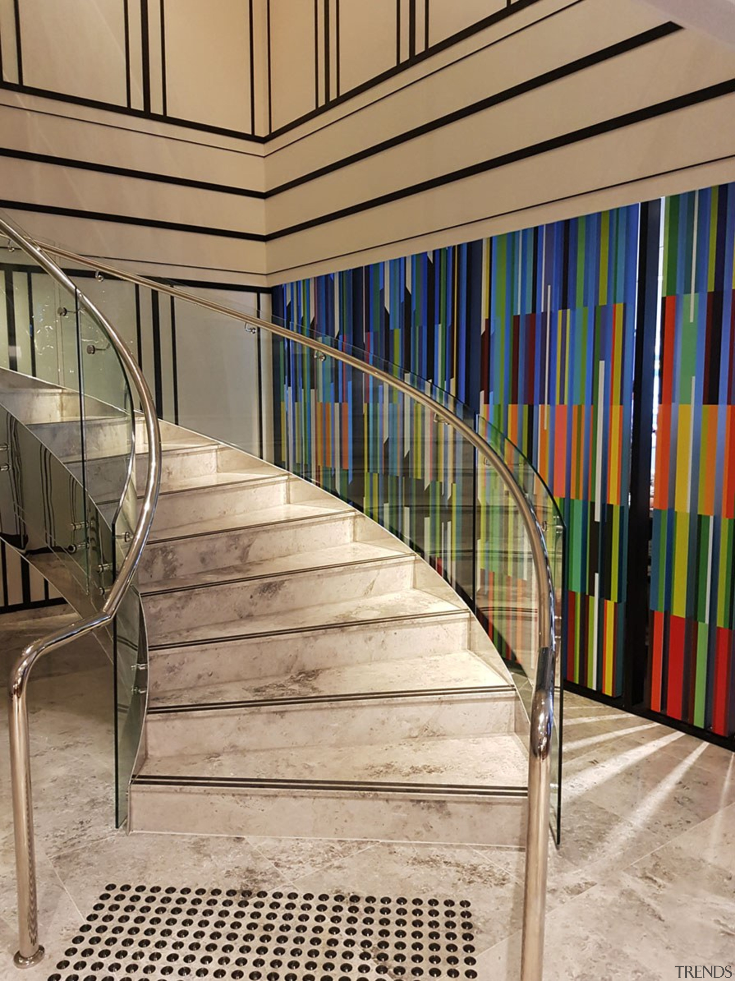 Doubletree Hilton 5 - architecture | building | architecture, building, design, floor, glass, handrail, interior design, line, room, stairs, orange
