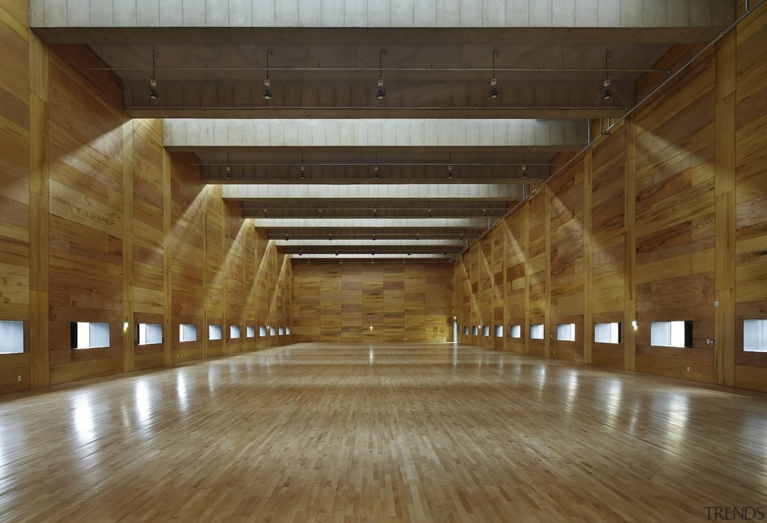 The expansive skylights cast interesting shadows - The architecture, ceiling, daylighting, floor, flooring, hardwood, interior design, lobby, structure, tourist attraction, wood, brown