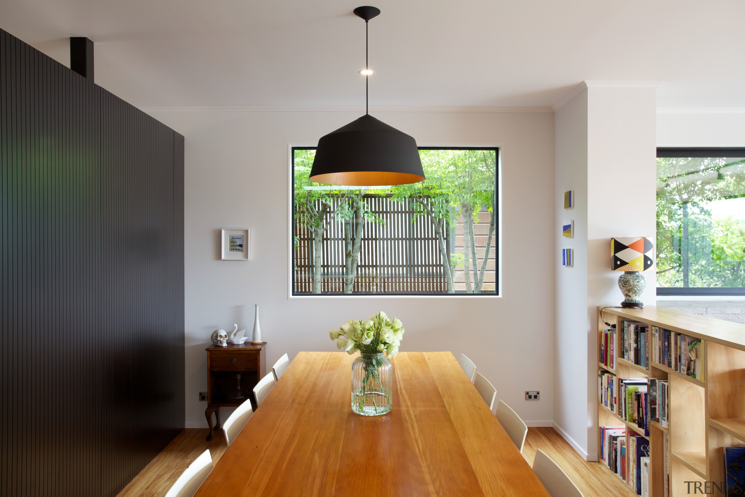 Contemporary black box addition to older home the ceiling, dining room, home, house, interior design, real estate, room, gray