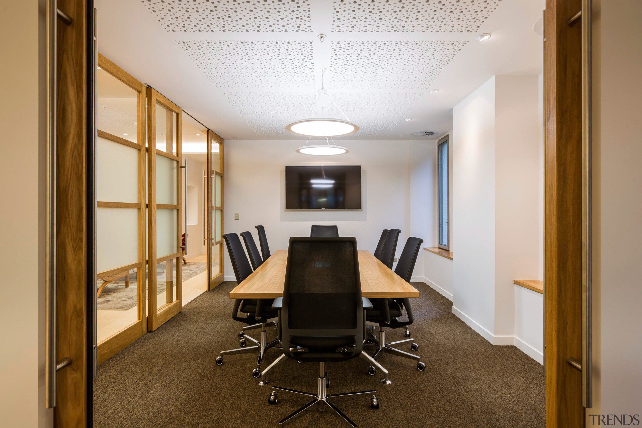 Our clients required a high quality fitout providing ceiling, conference hall, interior design, office, real estate, brown, gray