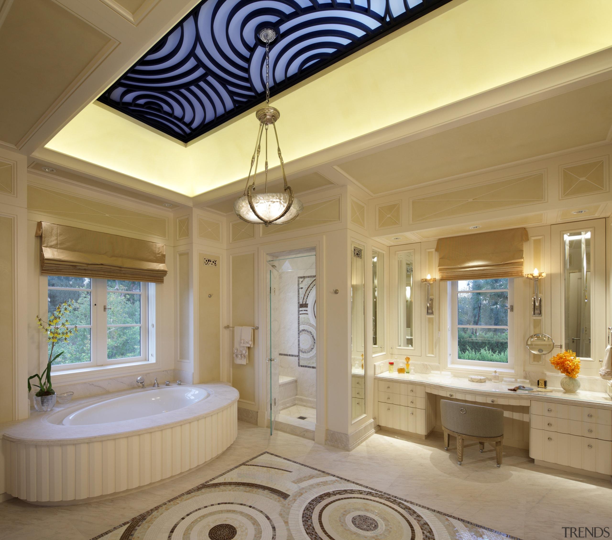 This ornate master bathroom is in an Italian bathroom, ceiling, daylighting, estate, floor, flooring, home, interior design, living room, property, real estate, room, tile, wall, window, brown