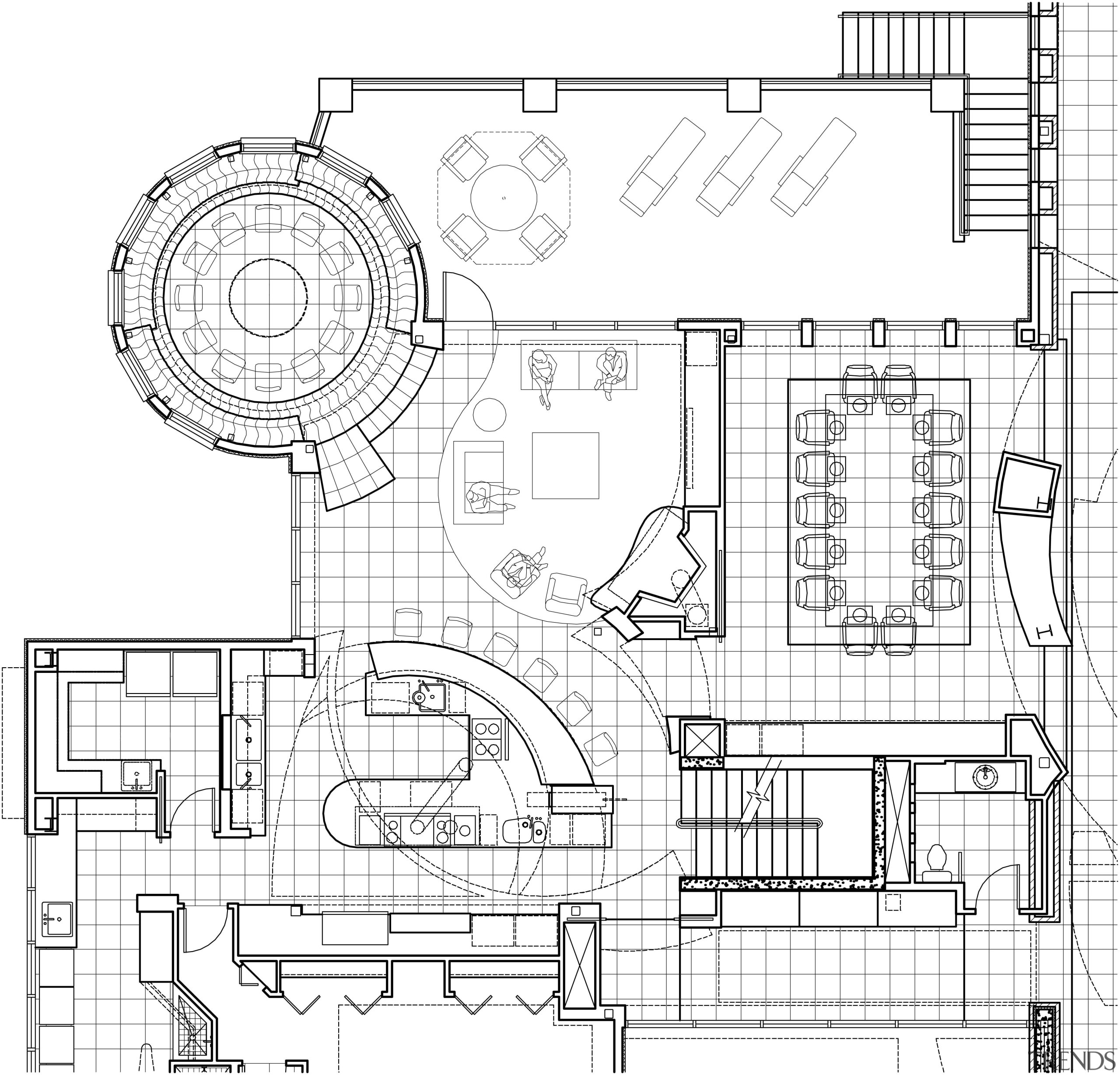 View of a kitchen architectural plans. - View area, artwork, black and white, design, diagram, drawing, engineering, floor plan, line, line art, plan, product, product design, technical drawing, white