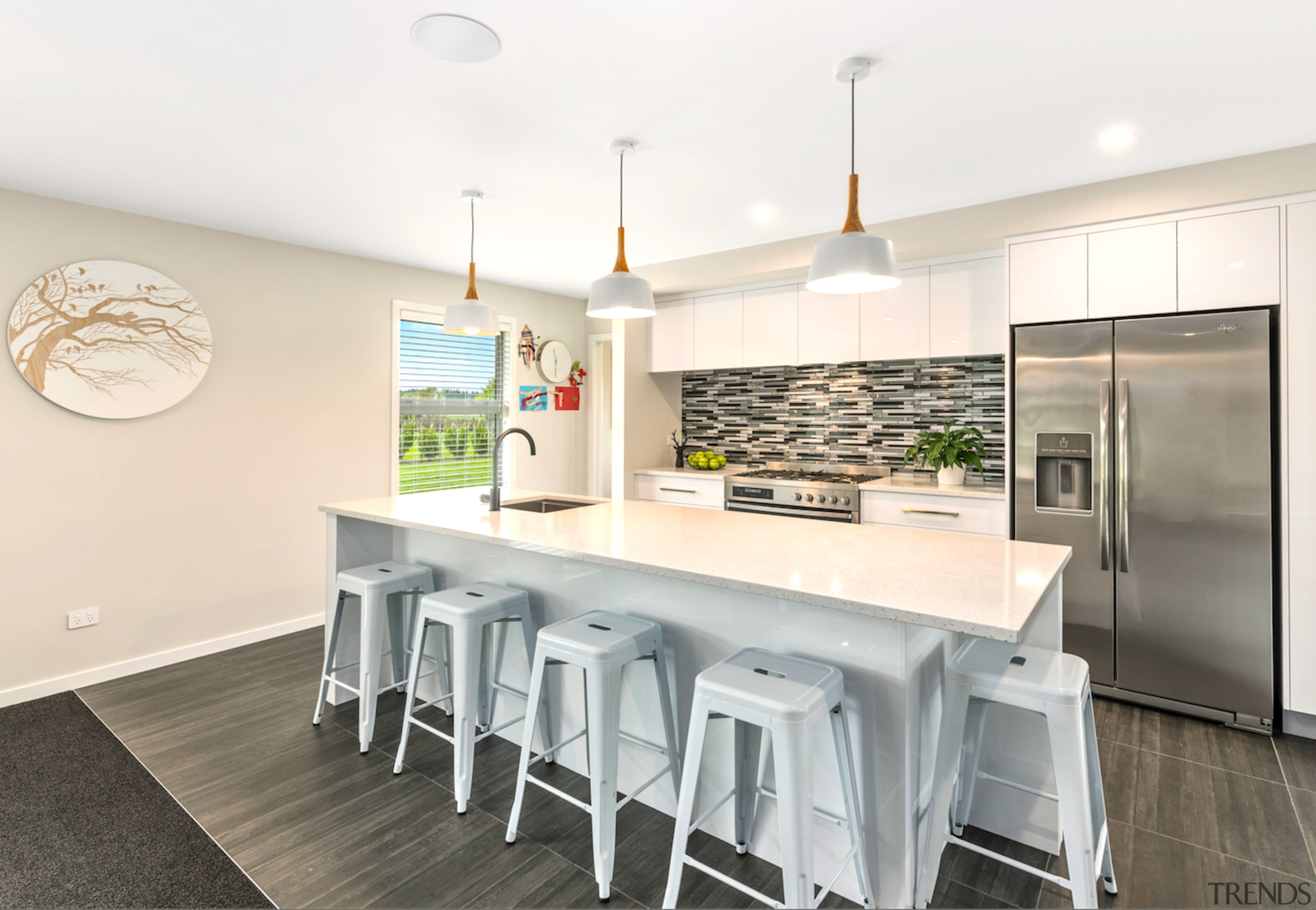 Award-winning home offers intelligent layouts and refined finishes architecture, countertop, dining room, interior design, kitchen, real estate, table, white, gray