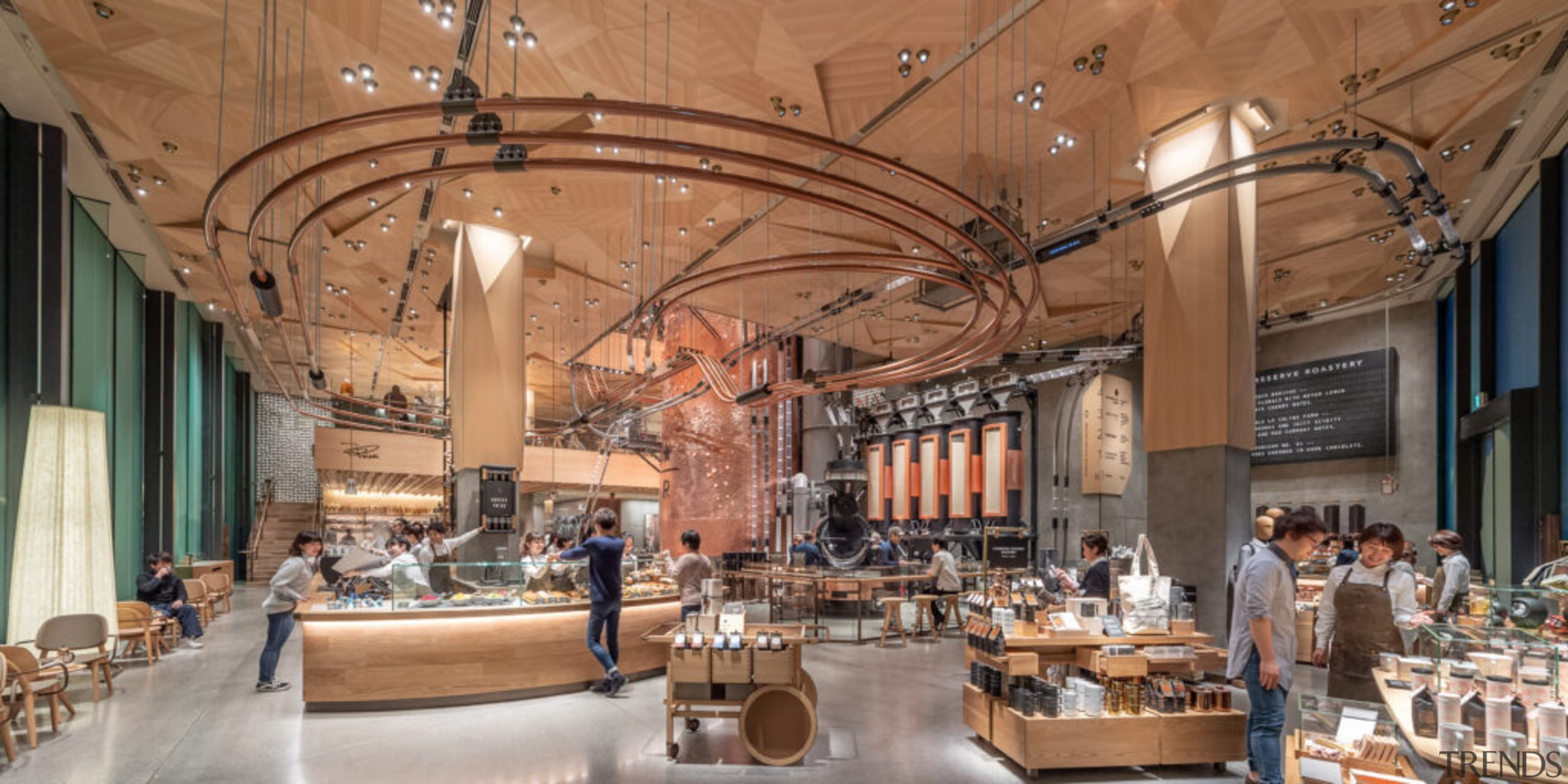 Starbucks Roastery – Tokyo - building | food building, food court, interior design, lobby, brown