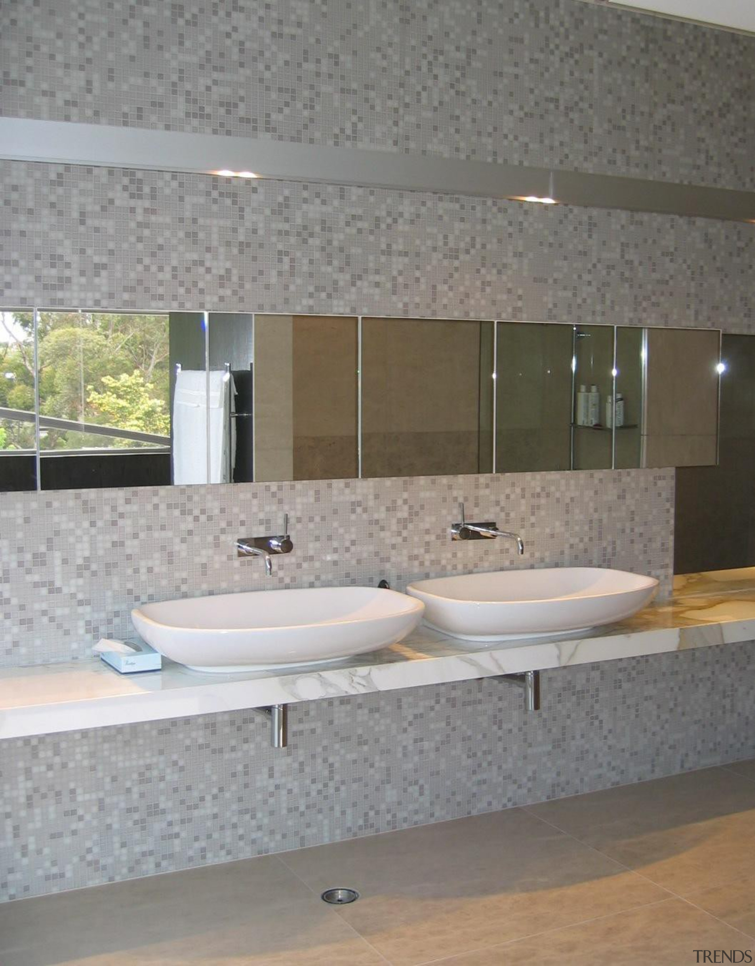 Nuvole wall. - Bisazza Range - architecture | architecture, bathroom, countertop, floor, interior design, plumbing fixture, property, sink, tap, tile, wall, gray