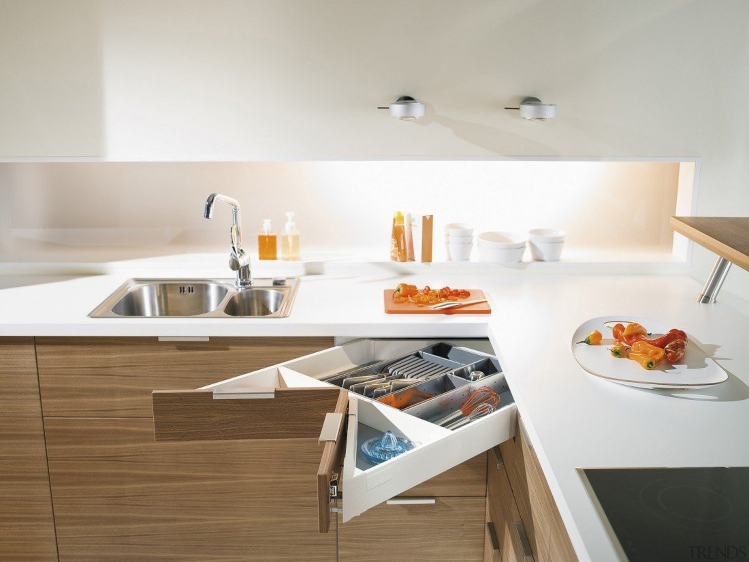The SPACE CORNER gives you full extension drawers countertop, furniture, interior design, kitchen, sink, table, tap, white