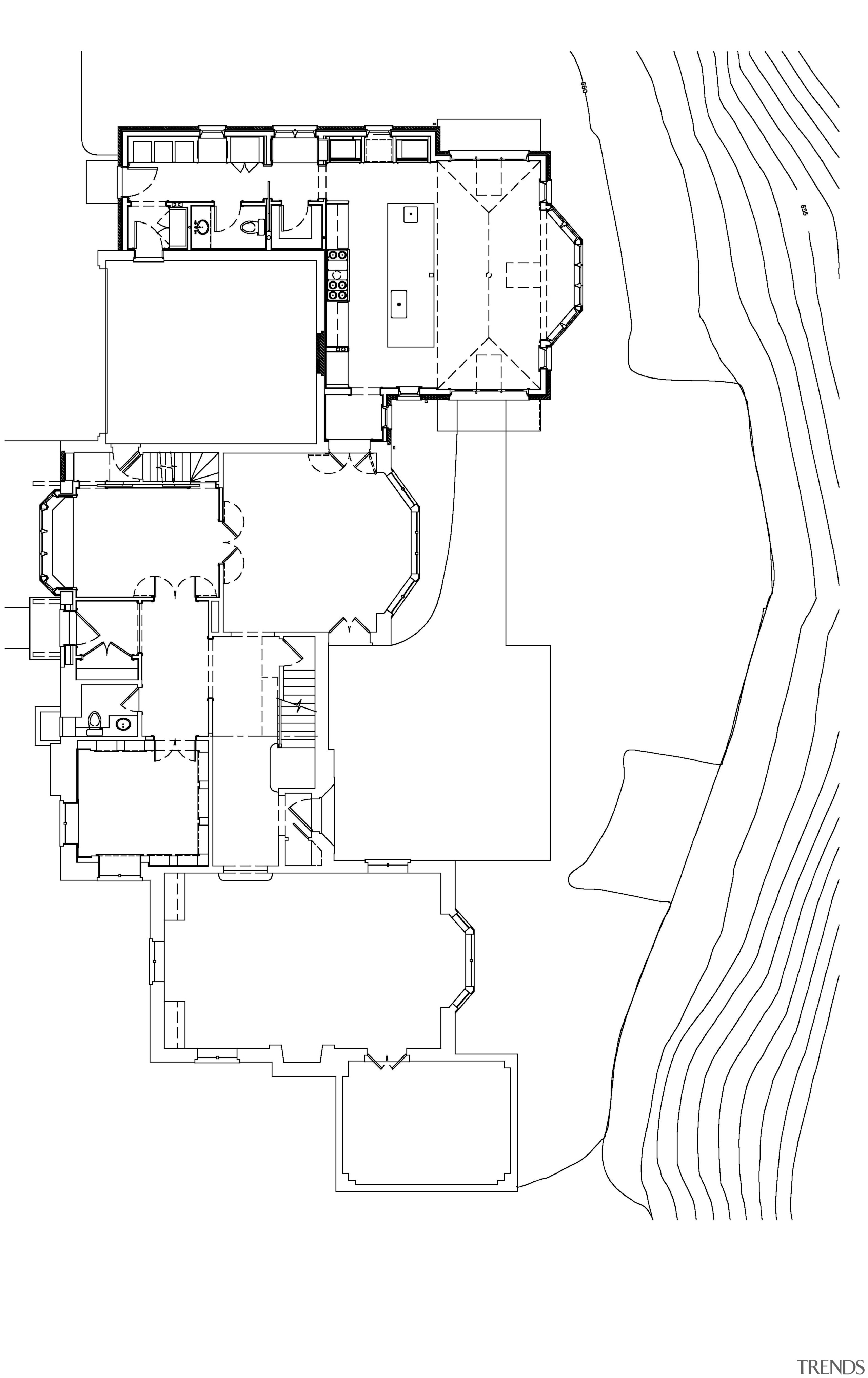 Kitchen and breakfast room extension to large country area, artwork, black and white, design, diagram, drawing, font, line, line art, monochrome, product, product design, text, white
