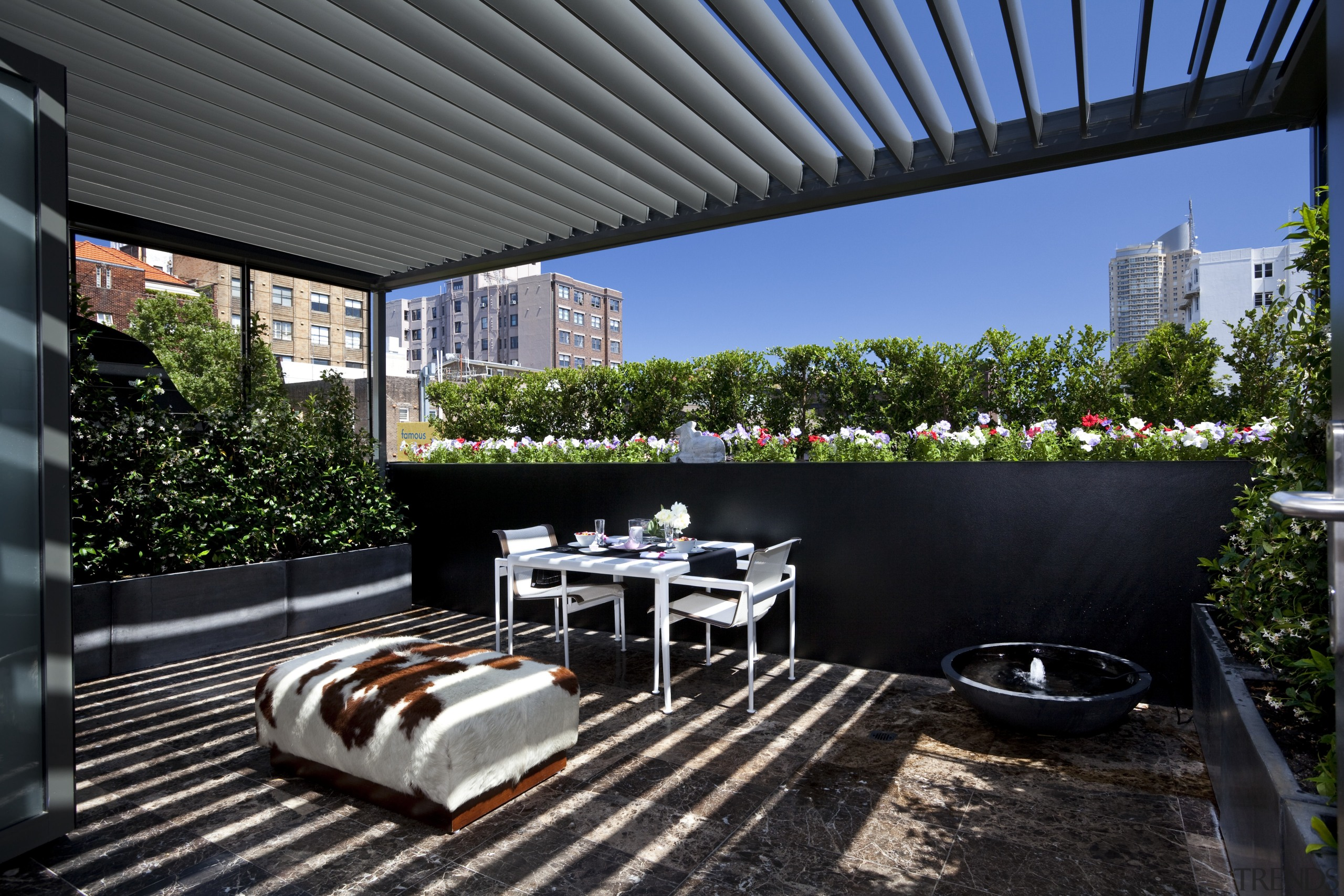 View of outdoor area. - View of outdoor apartment, backyard, home, house, outdoor structure, patio, real estate, roof, black