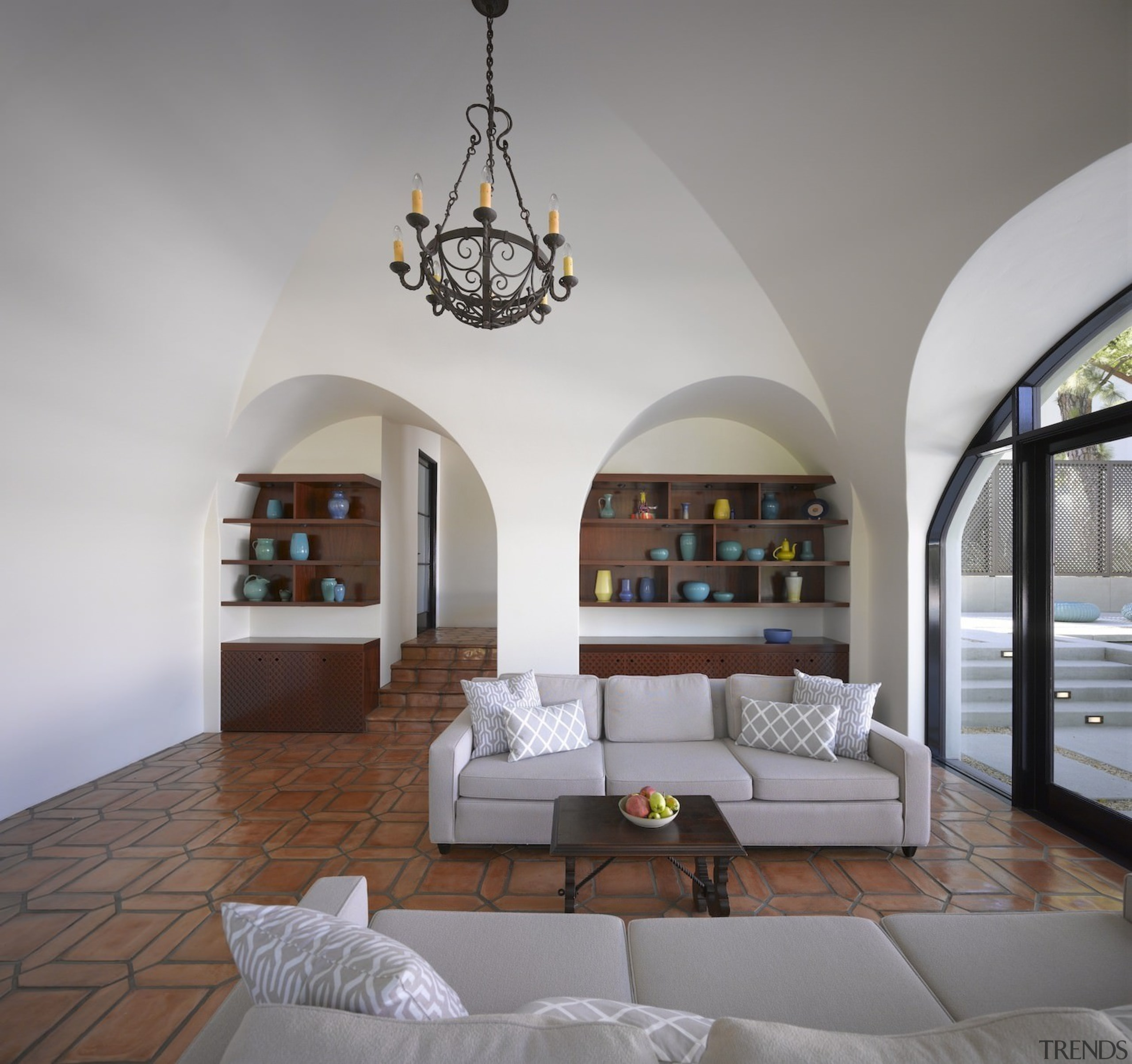 Arched doorways, vaulted ceilings, decorative window grilles and architecture, ceiling, estate, home, interior design, living room, gray