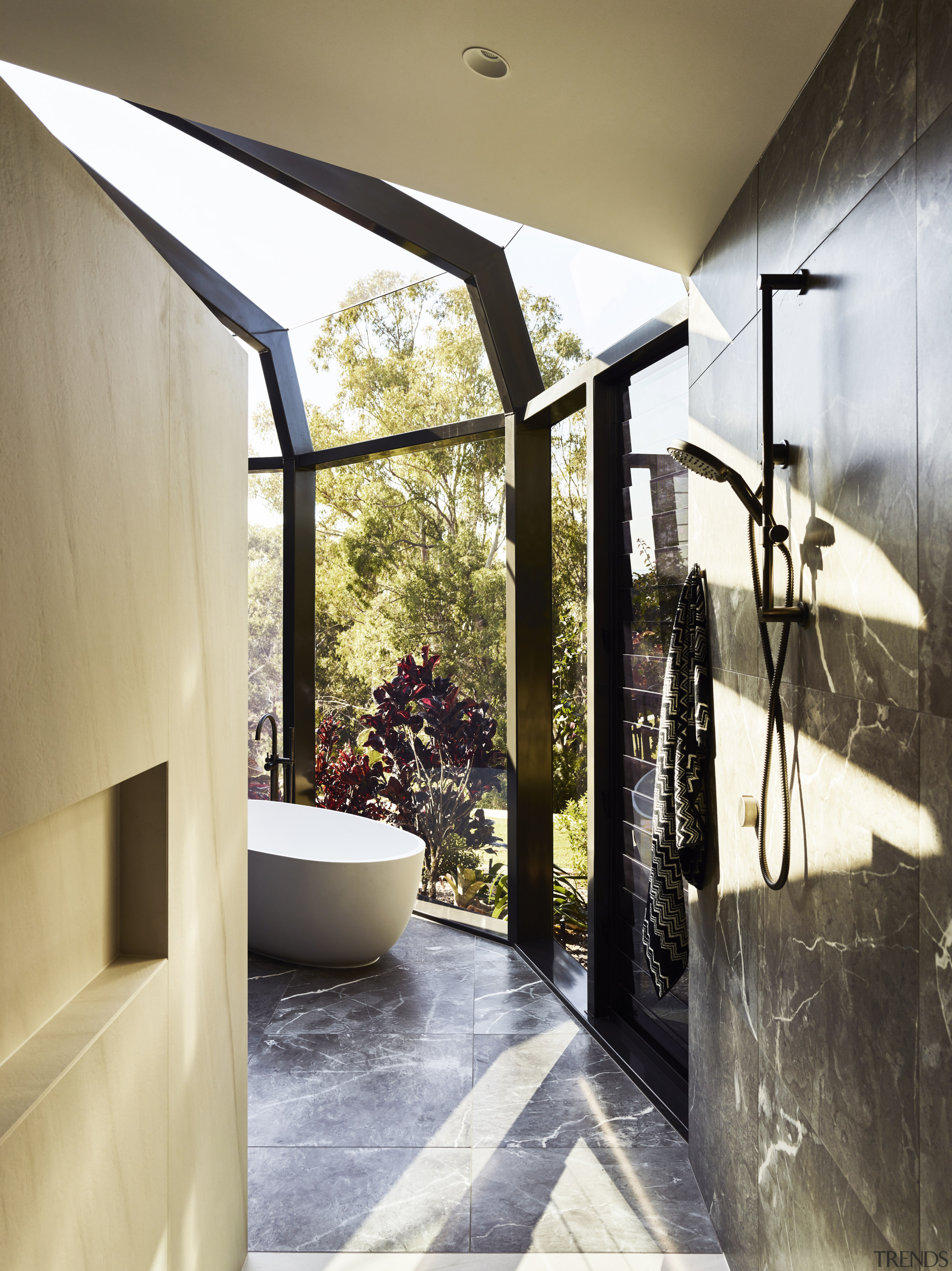 For this bathroom design, the depth of the architecture, bathroom, floor, flooring, home, house, interior design, ceramic tile, Darren James, shower zone