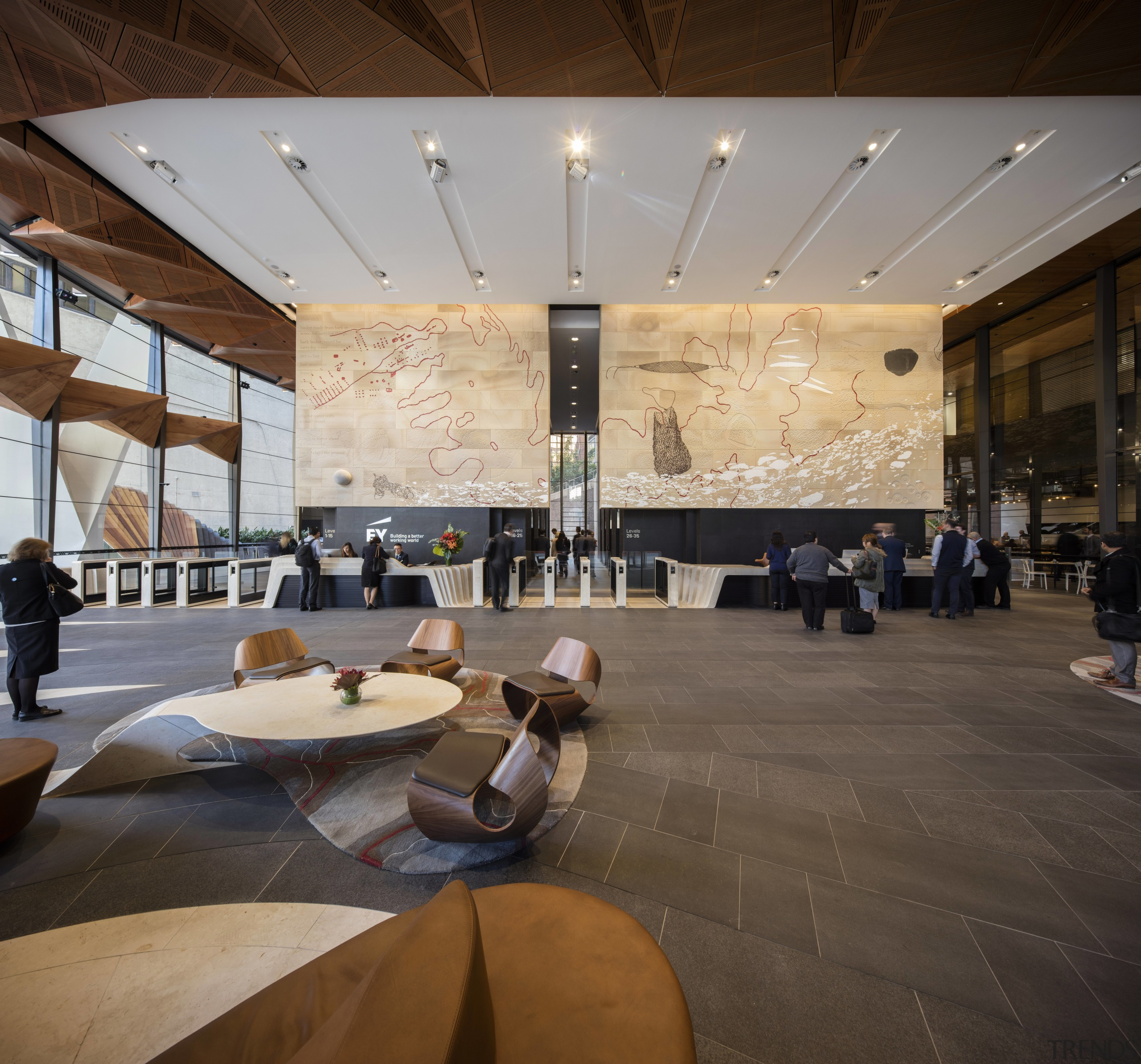 A mural on sandstone by artist Judy Watson architecture, ceiling, flooring, furniture, interior design, lobby, restaurant, table, brown, gray