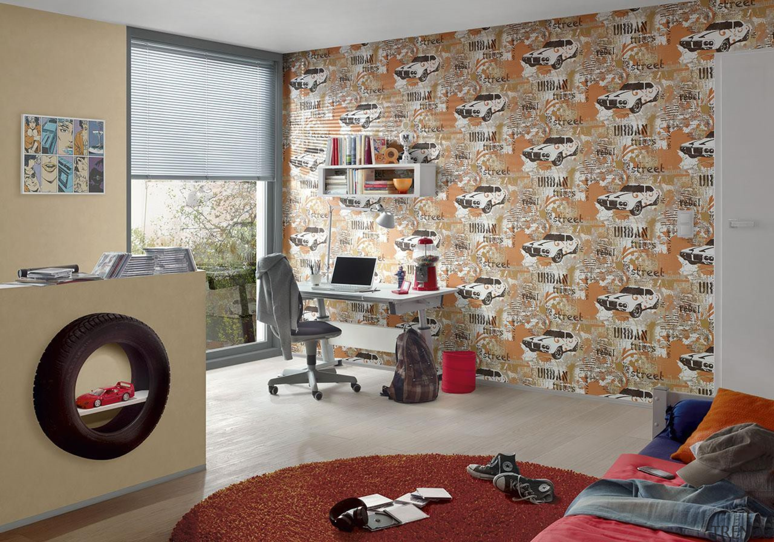 The new Boys and Girls Collection is a flooring, home, interior design, living room, room, textile, wall, window, gray