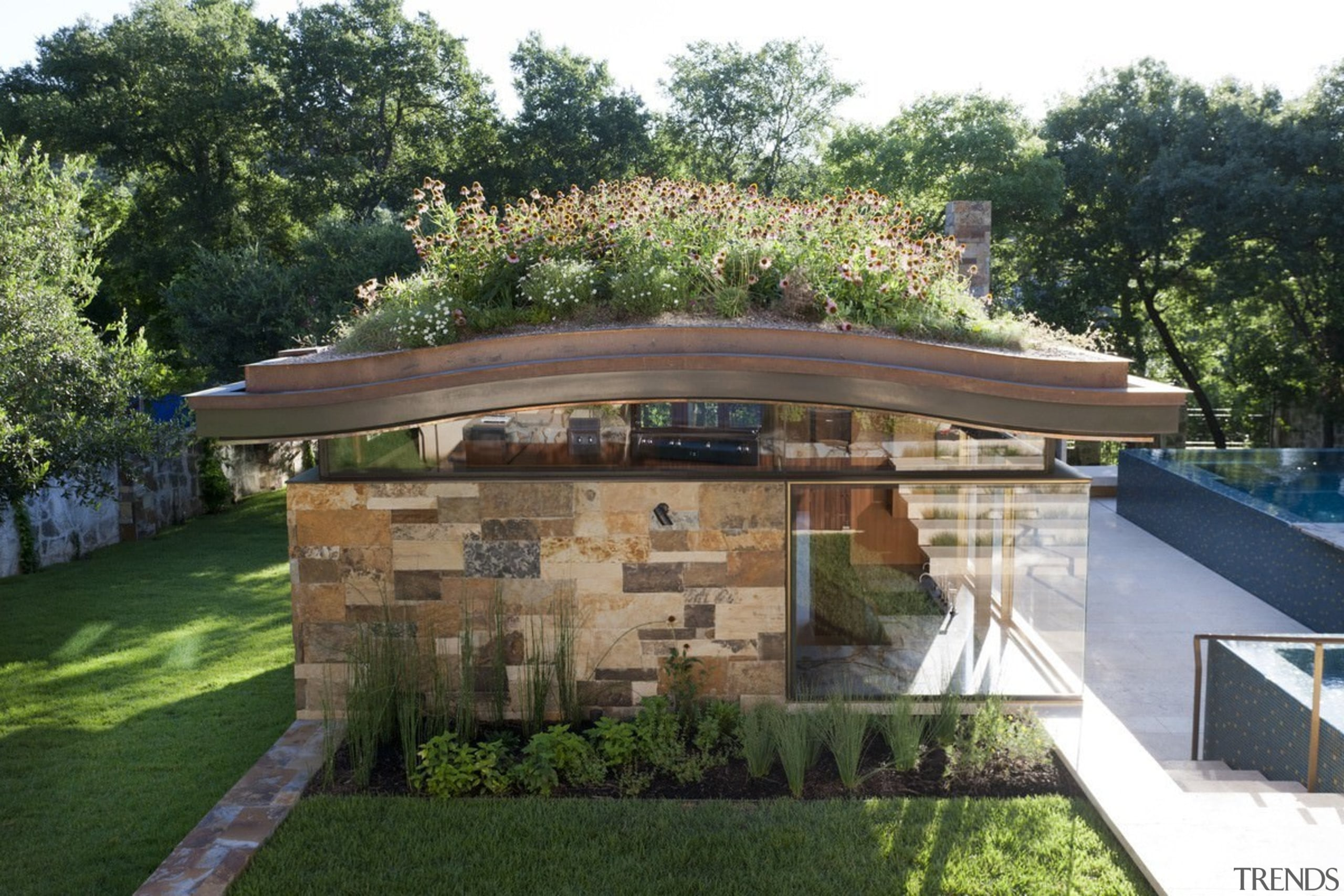 A garden roof is a great way to architecture, backyard, estate, home, house, landscape, landscaping, outdoor structure, property, real estate, residential area, roof, yard, green