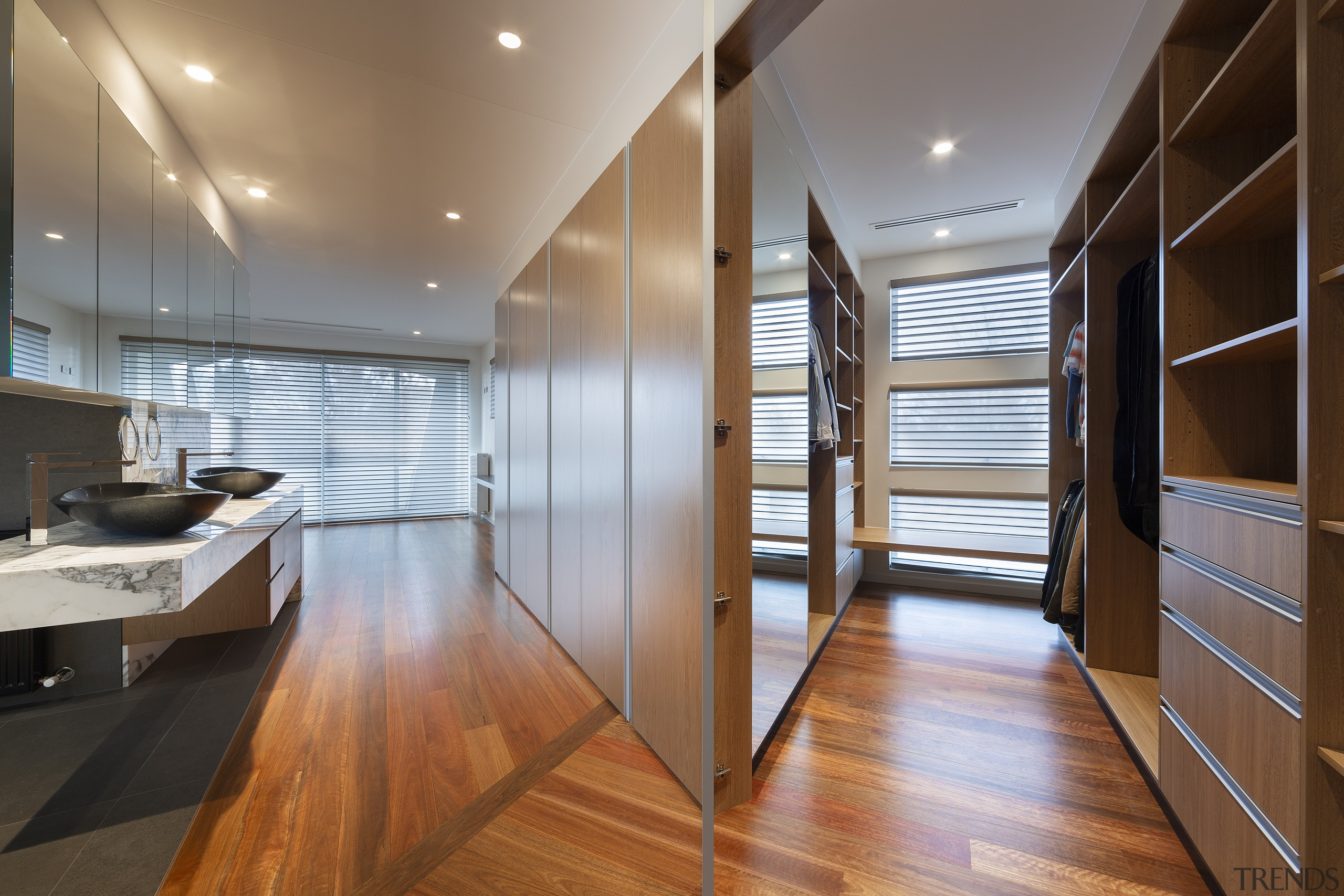 Two secret doors in the bank of cabinetry brown, gray