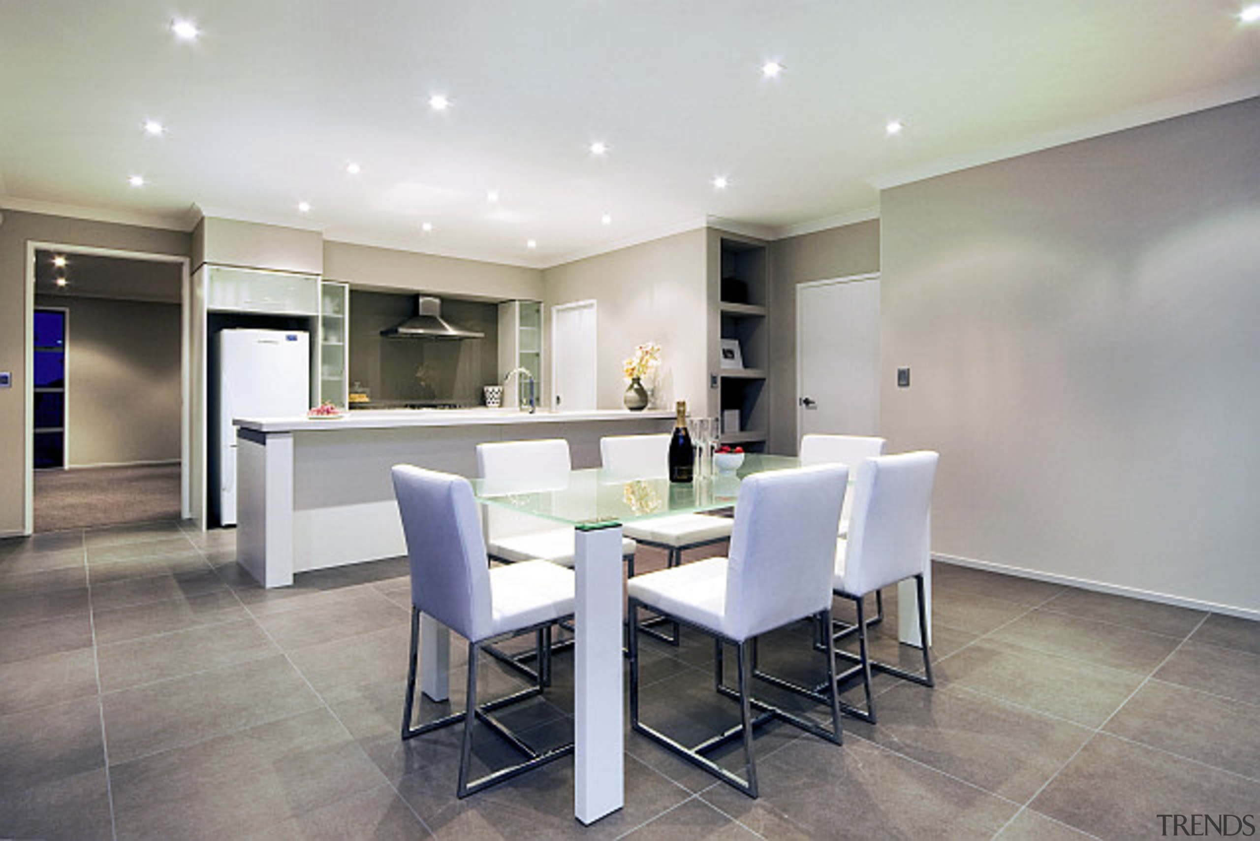 Open plan kitchen and dining area, in a ceiling, dining room, floor, flooring, interior design, property, real estate, room, table, gray