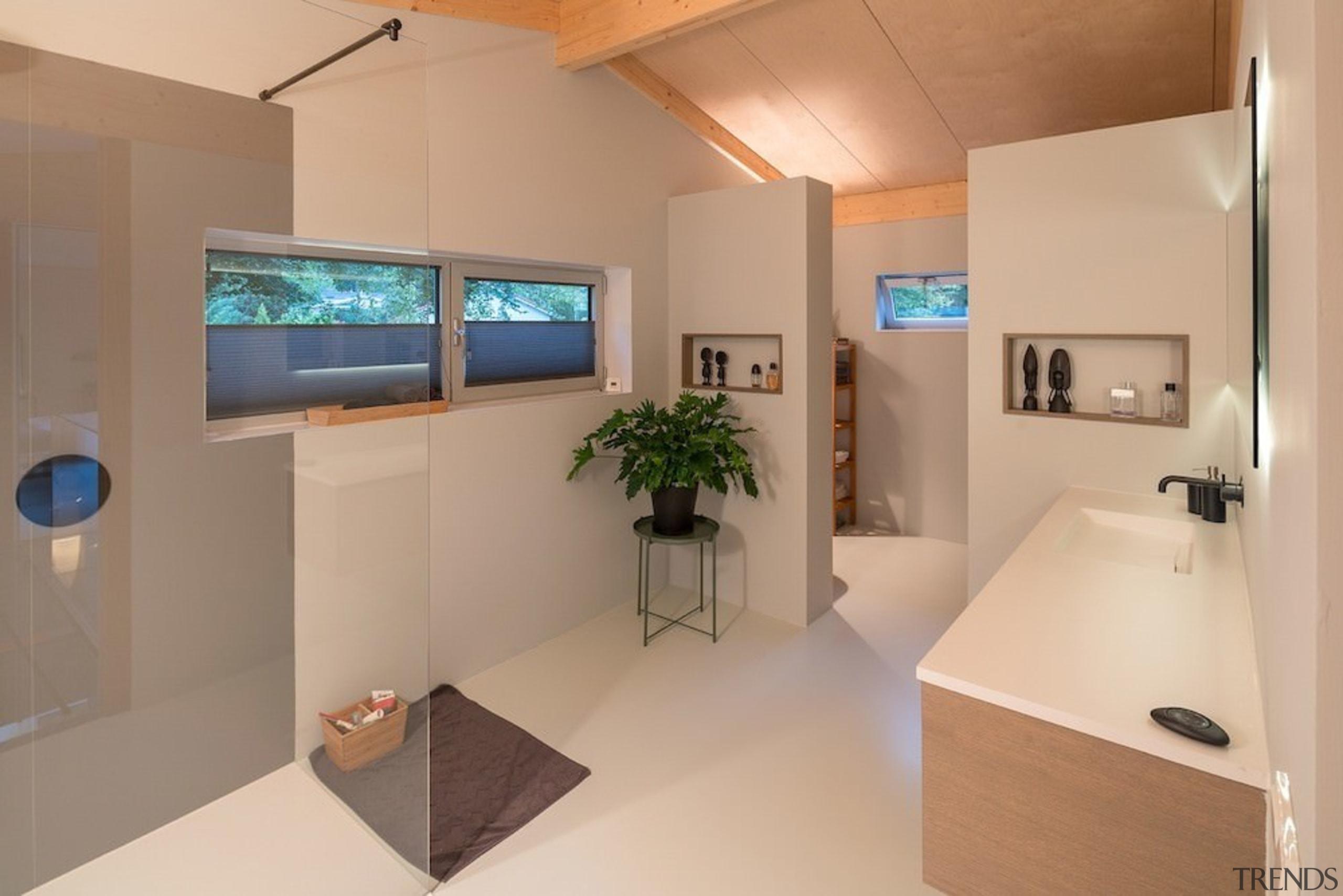 This bathroom has a large walk-in shower - interior design, product design, real estate, room, orange