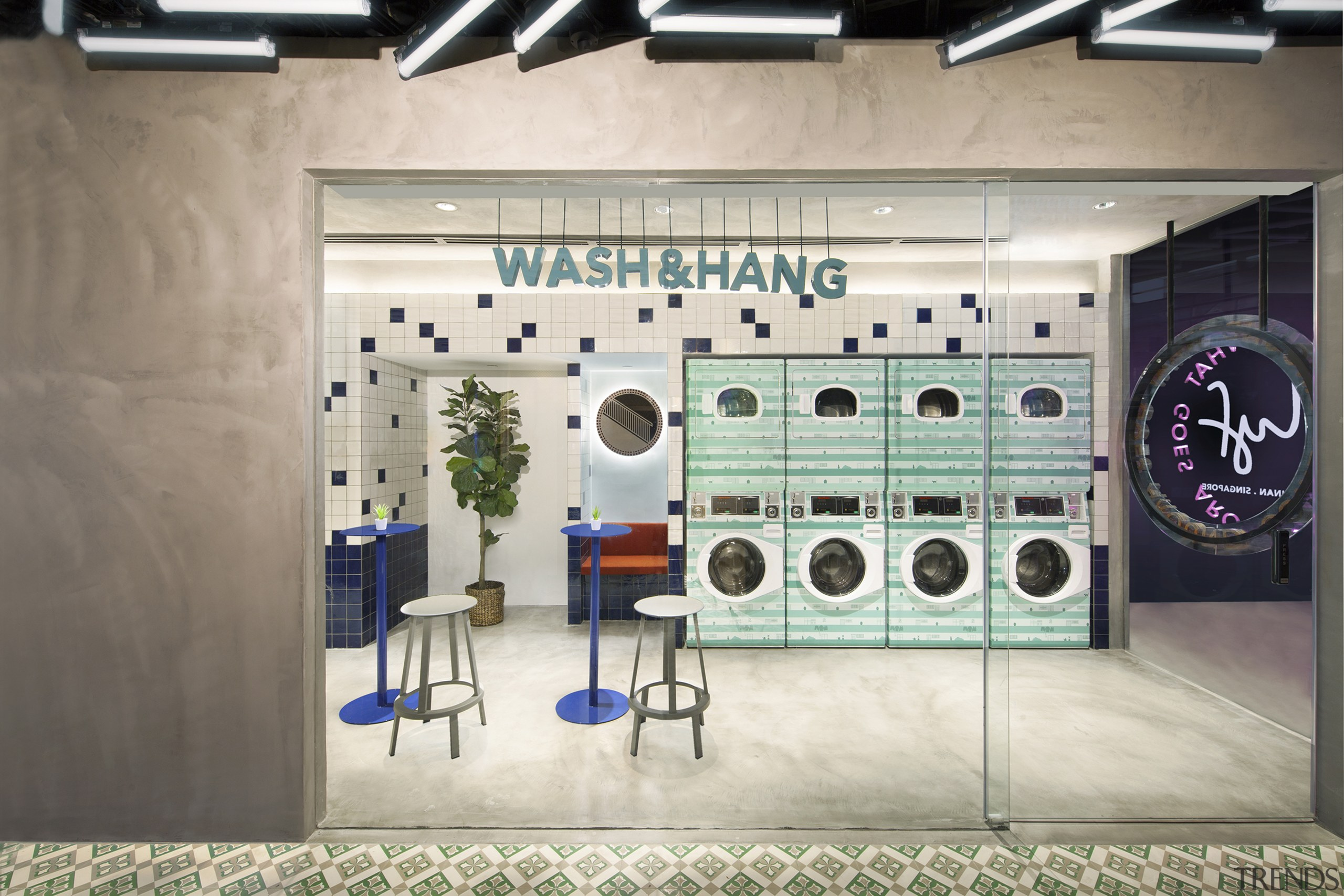 Wash & Hang takes on a more social building, design, eyewear, interior design, room, gray, white