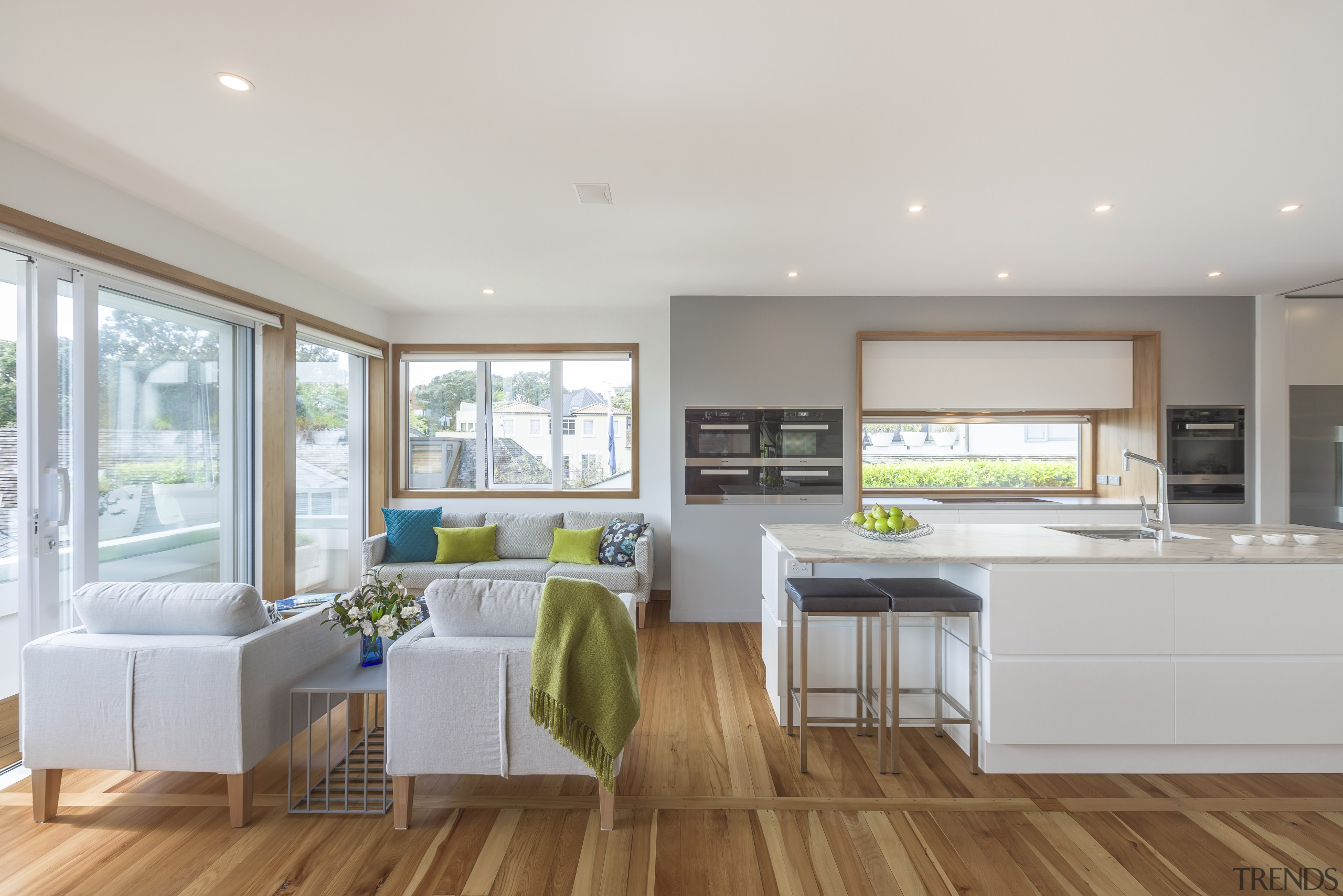 2018 TIDA New Zealand Designer Kitchen Highly Commended floor, interior design, kitchen, living room, real estate, window, gray